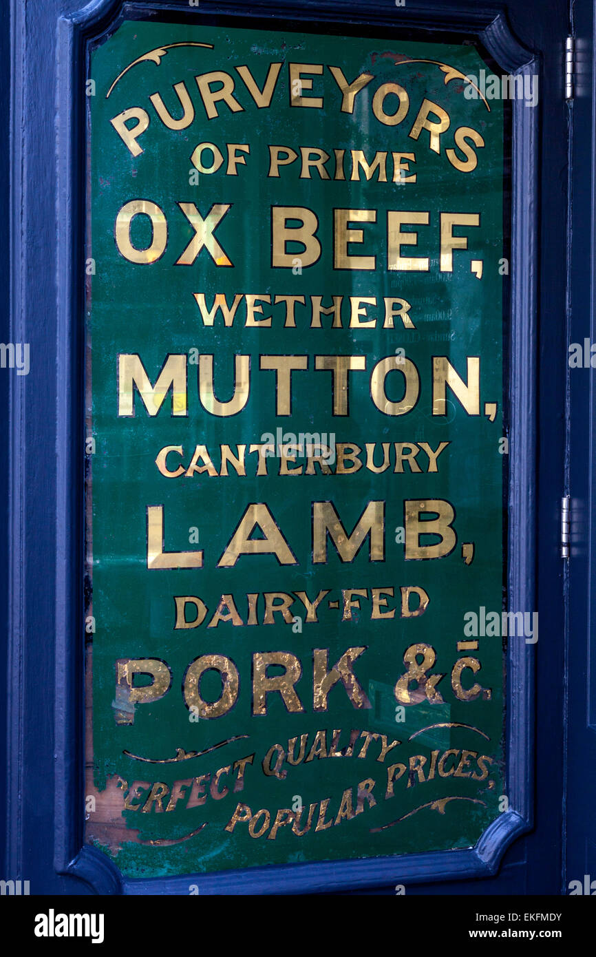 Mdy Pont L Eveque traditional butcher sign stock photos & traditional butcher