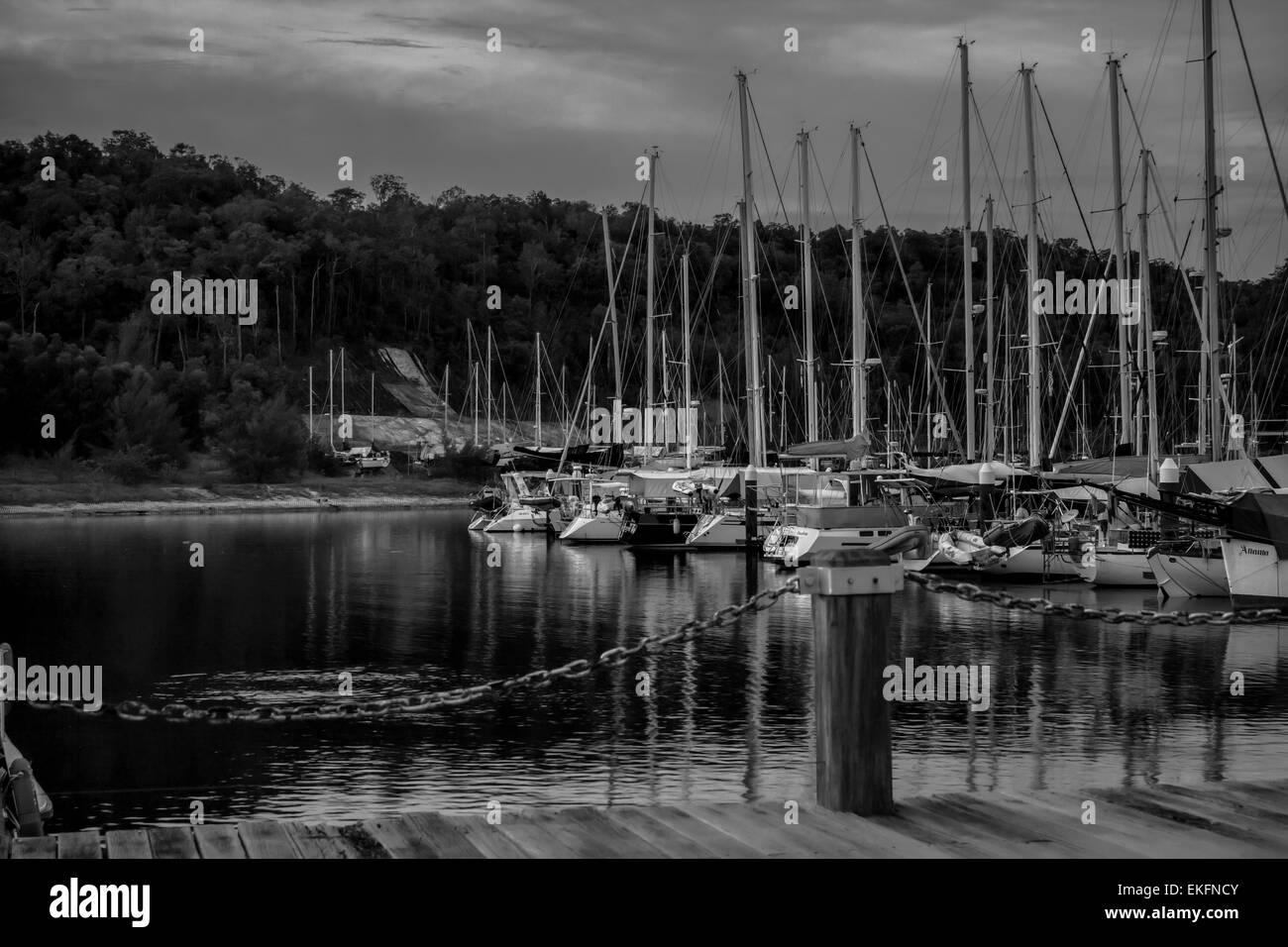 Island marina boats docked. - Stock Image