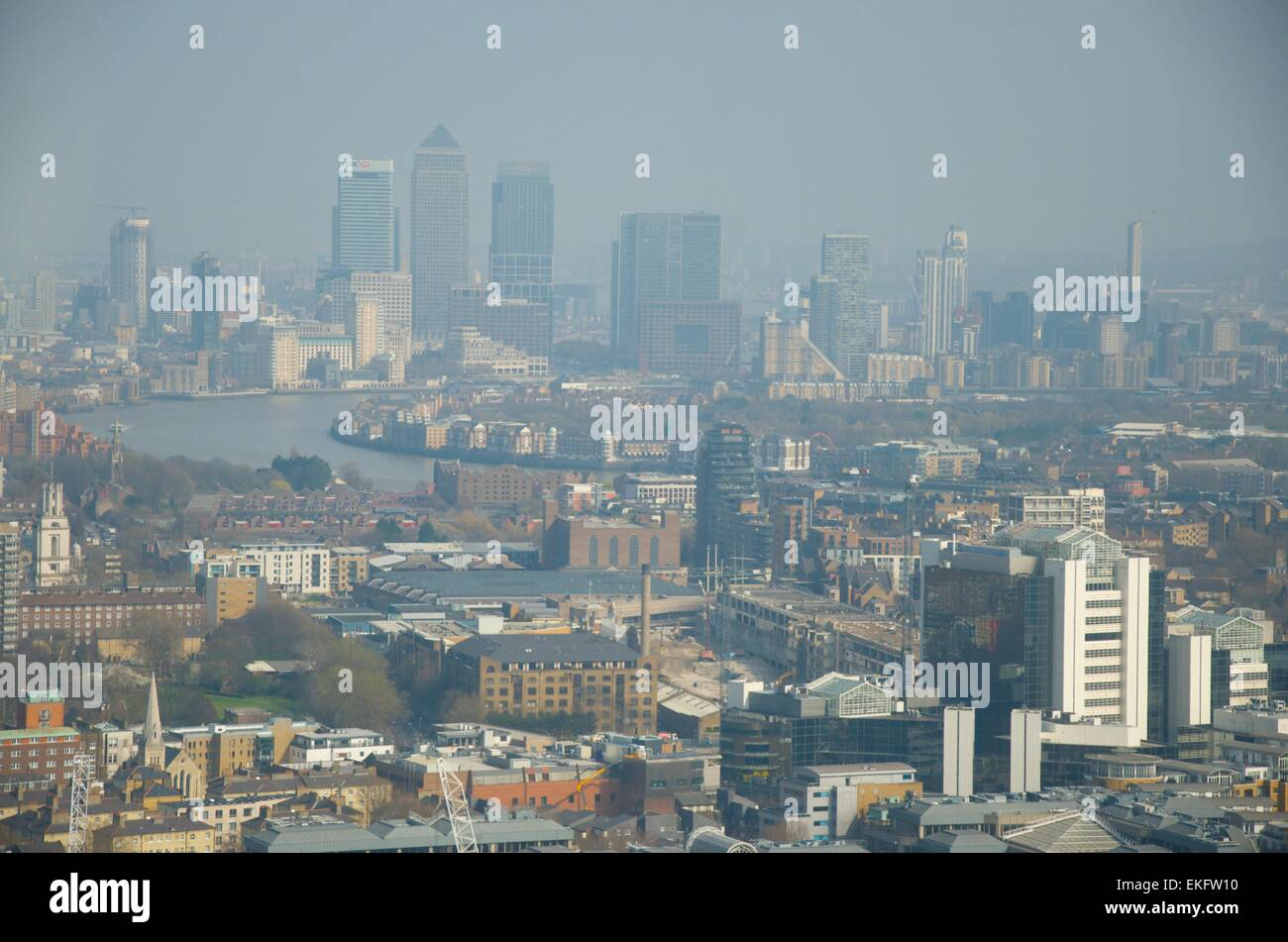 View towards East London and Canary Wharf from the Sky Garden at the top of 20 Fenchurch Street, London, England, - Stock Image
