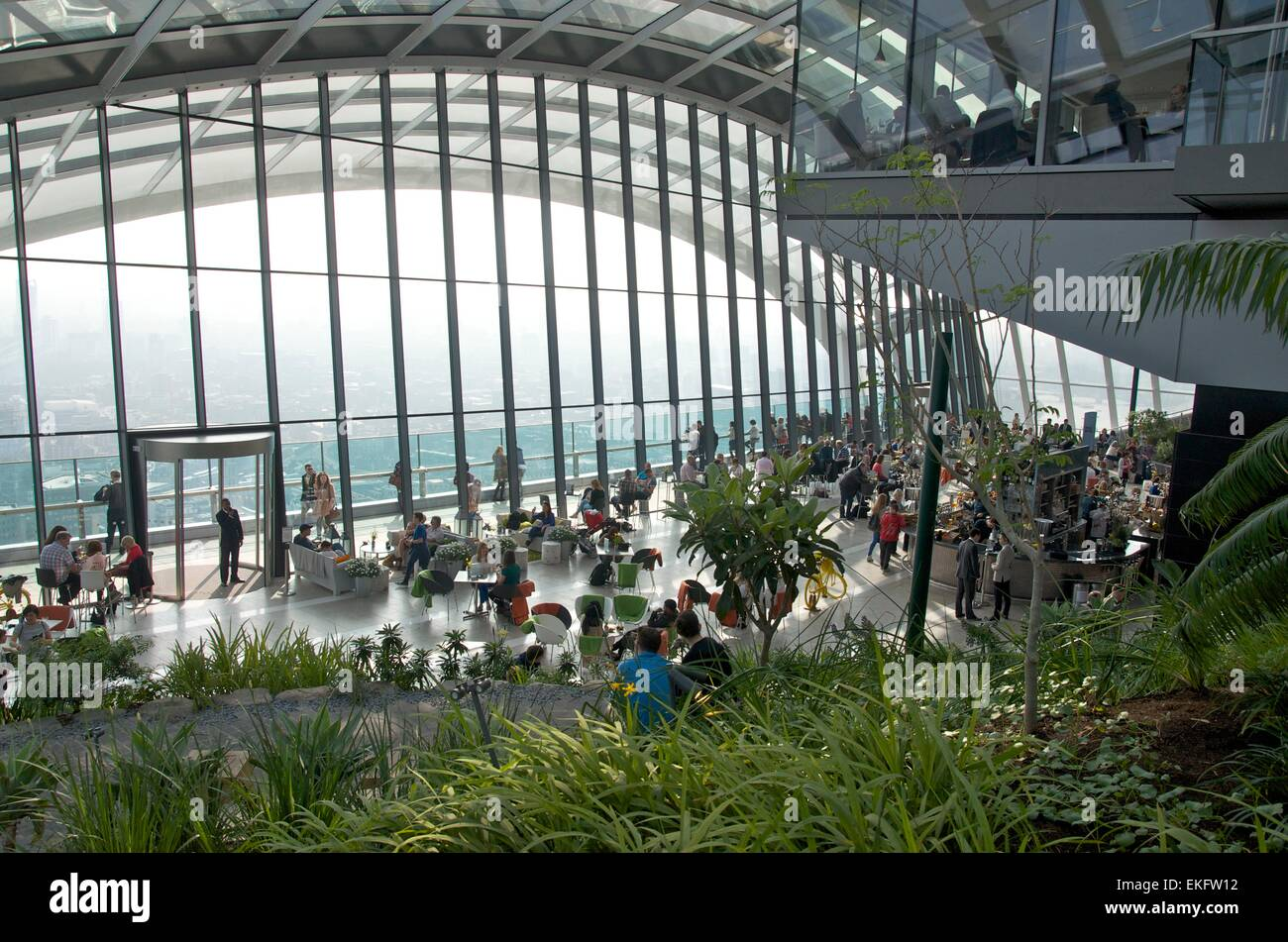 The Sky Garden at the top of 20 Fenchurch Street, City of London, London, England, UK - Stock Image
