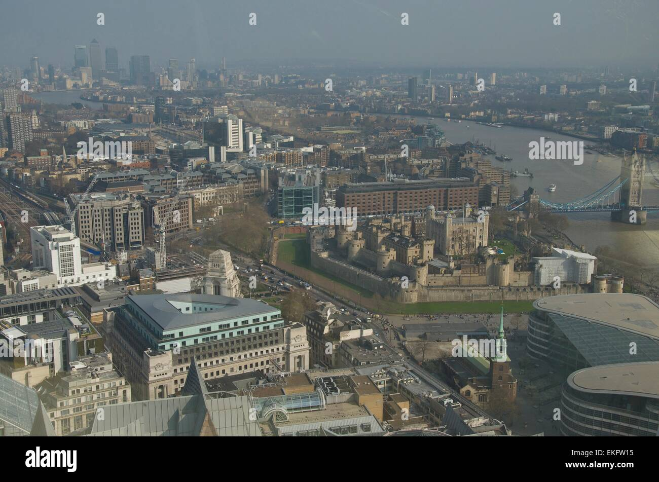 View of London from the Sky Garden at the top of 20 Fenchurch Street, facing east towards Canary Wharf, London, - Stock Image