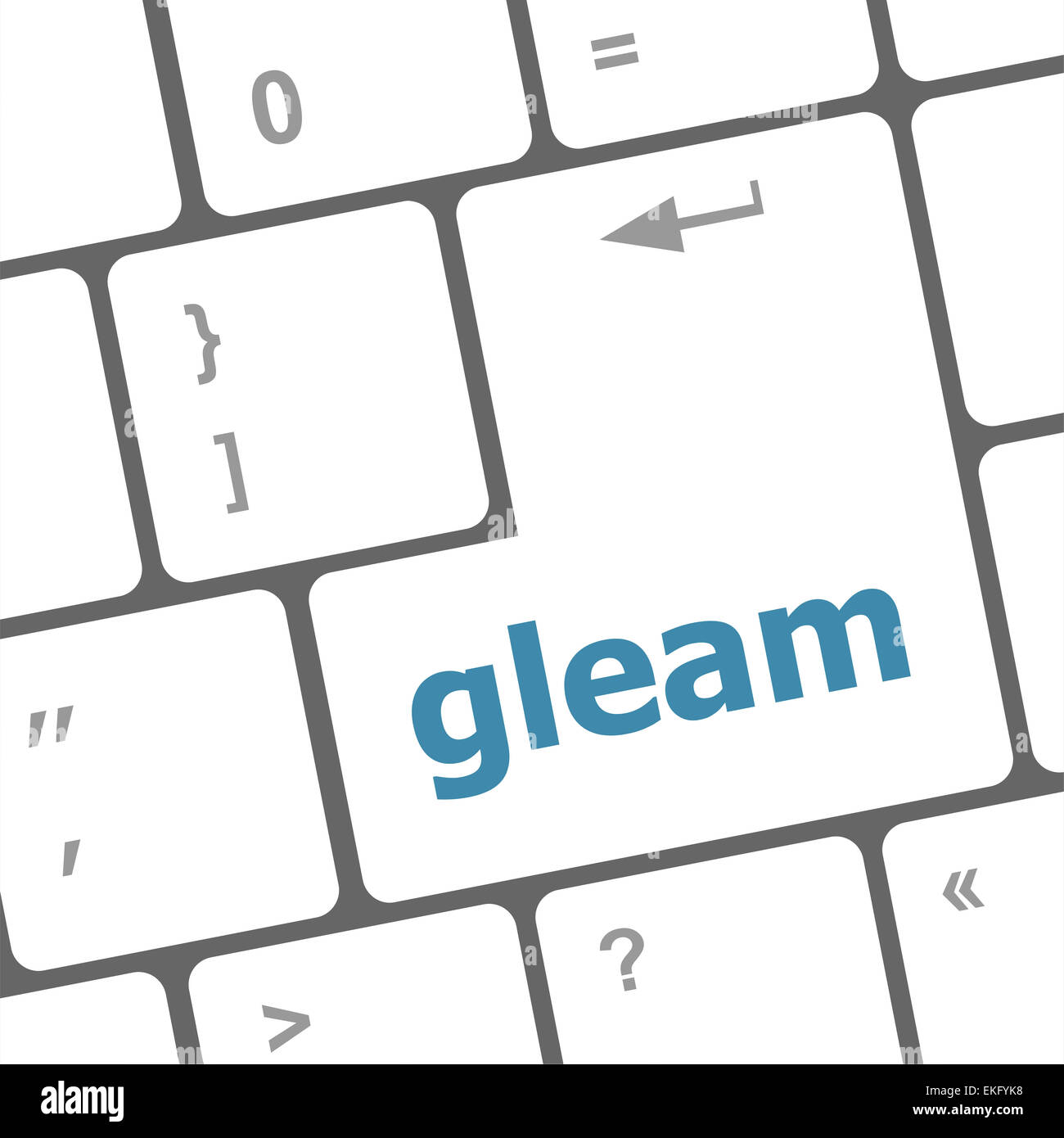 gleam word on computer pc keyboard key - Stock Image