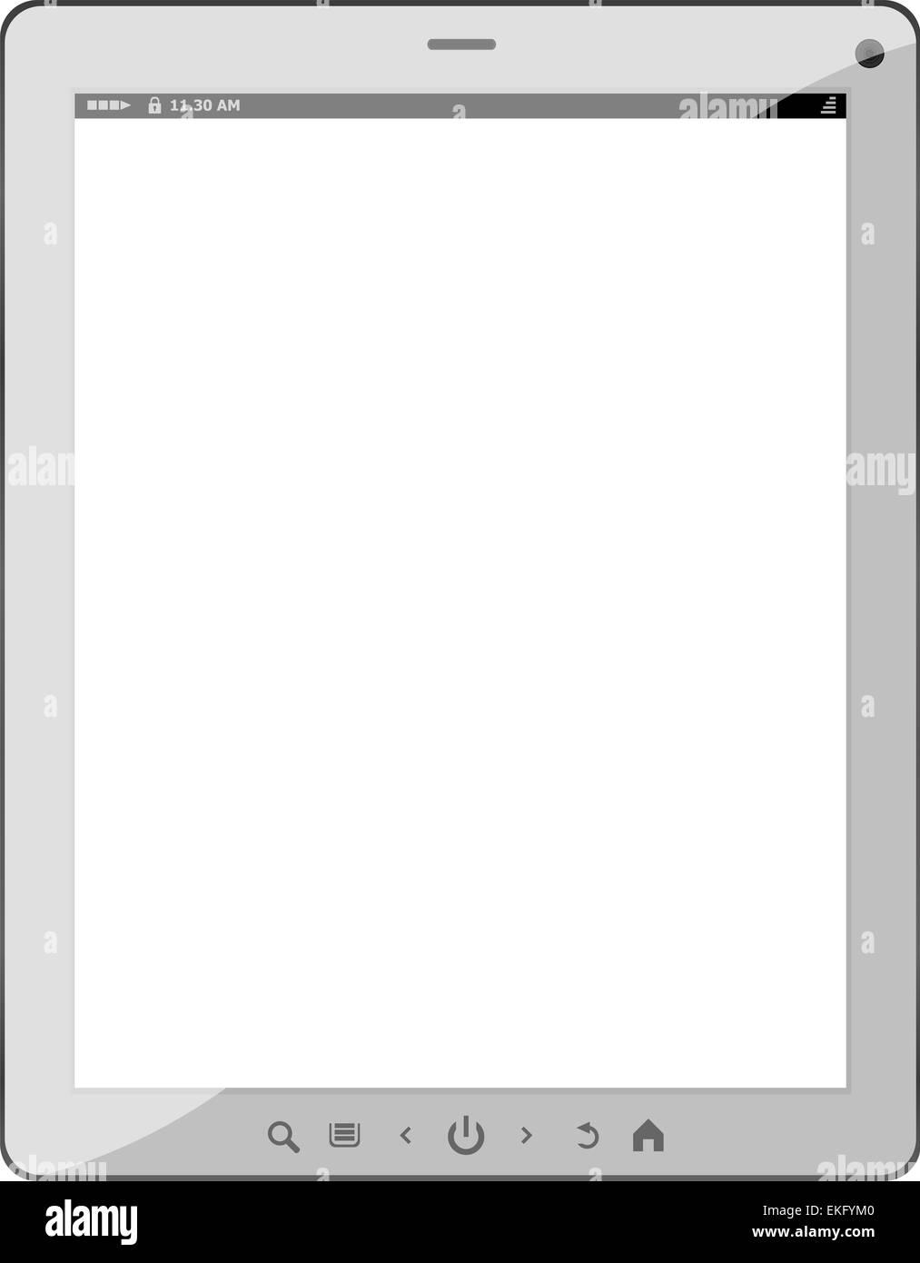 white tablet pc on white background - Stock Image
