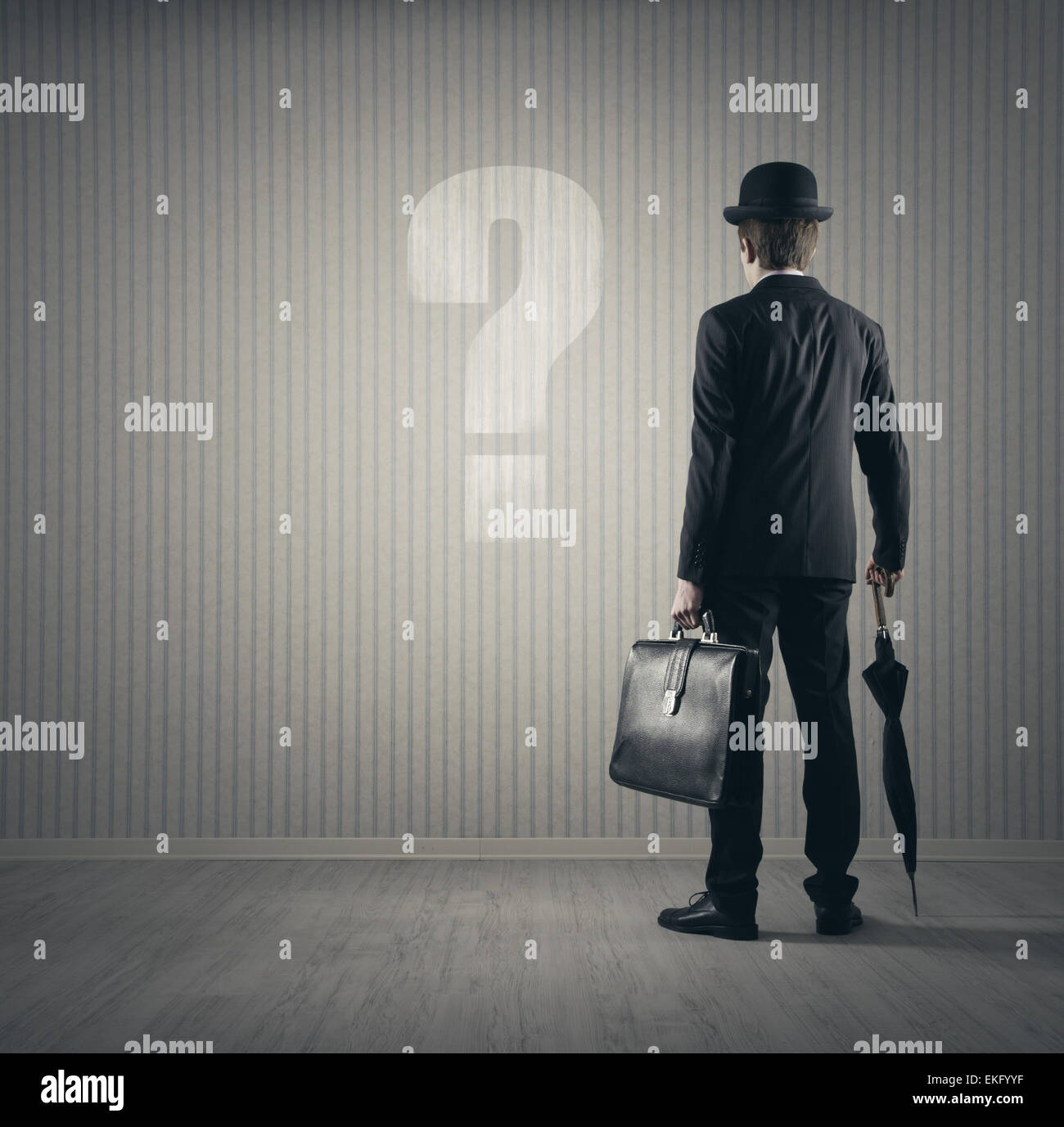 Businessman and questions - Stock Image