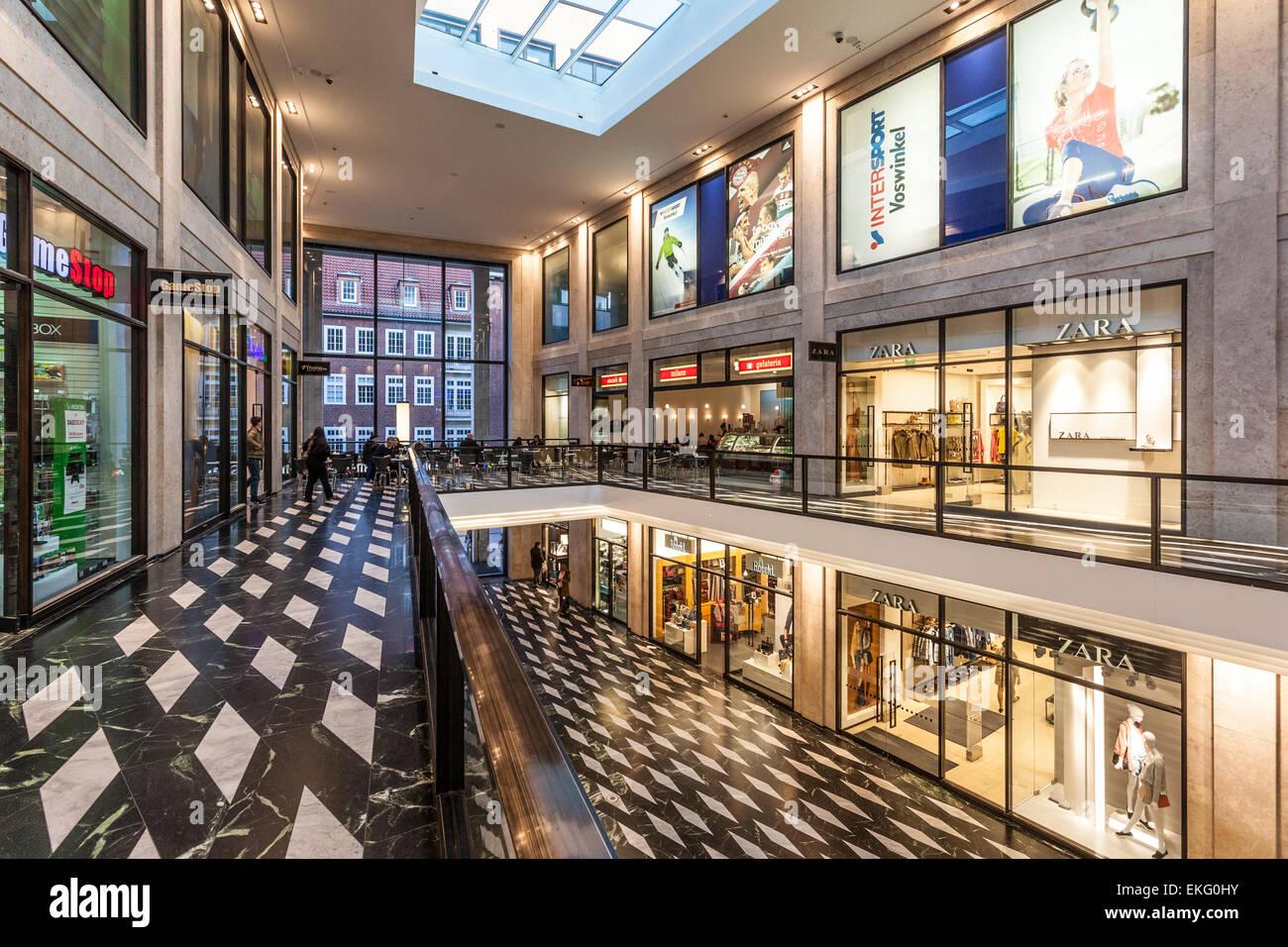 Interior of the Modern Shopping Center Munsterarkaden in Muenster, Germany - Stock Image