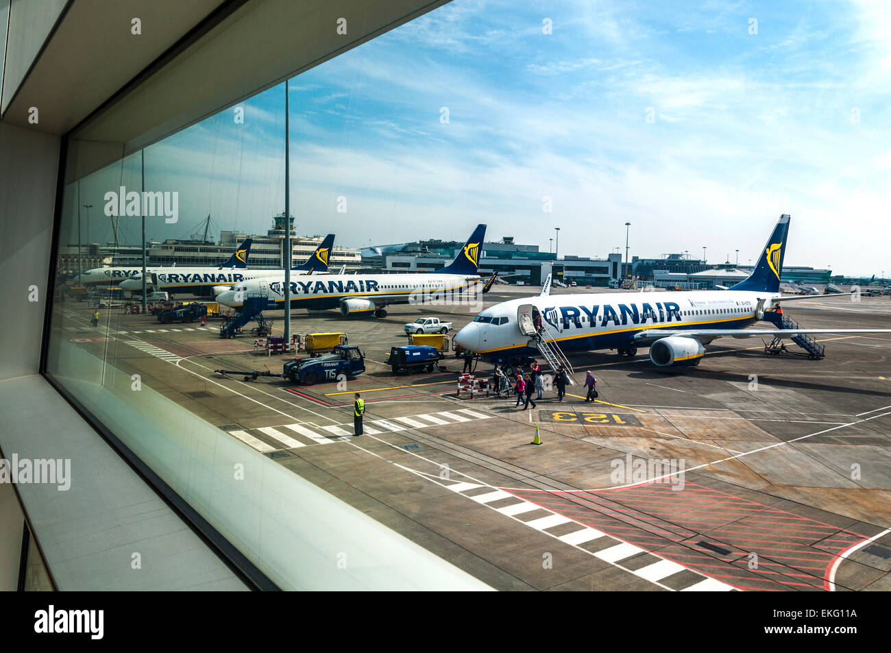 Ryanair aircraft on the stand at Dublin Airport Ireland - Stock Image