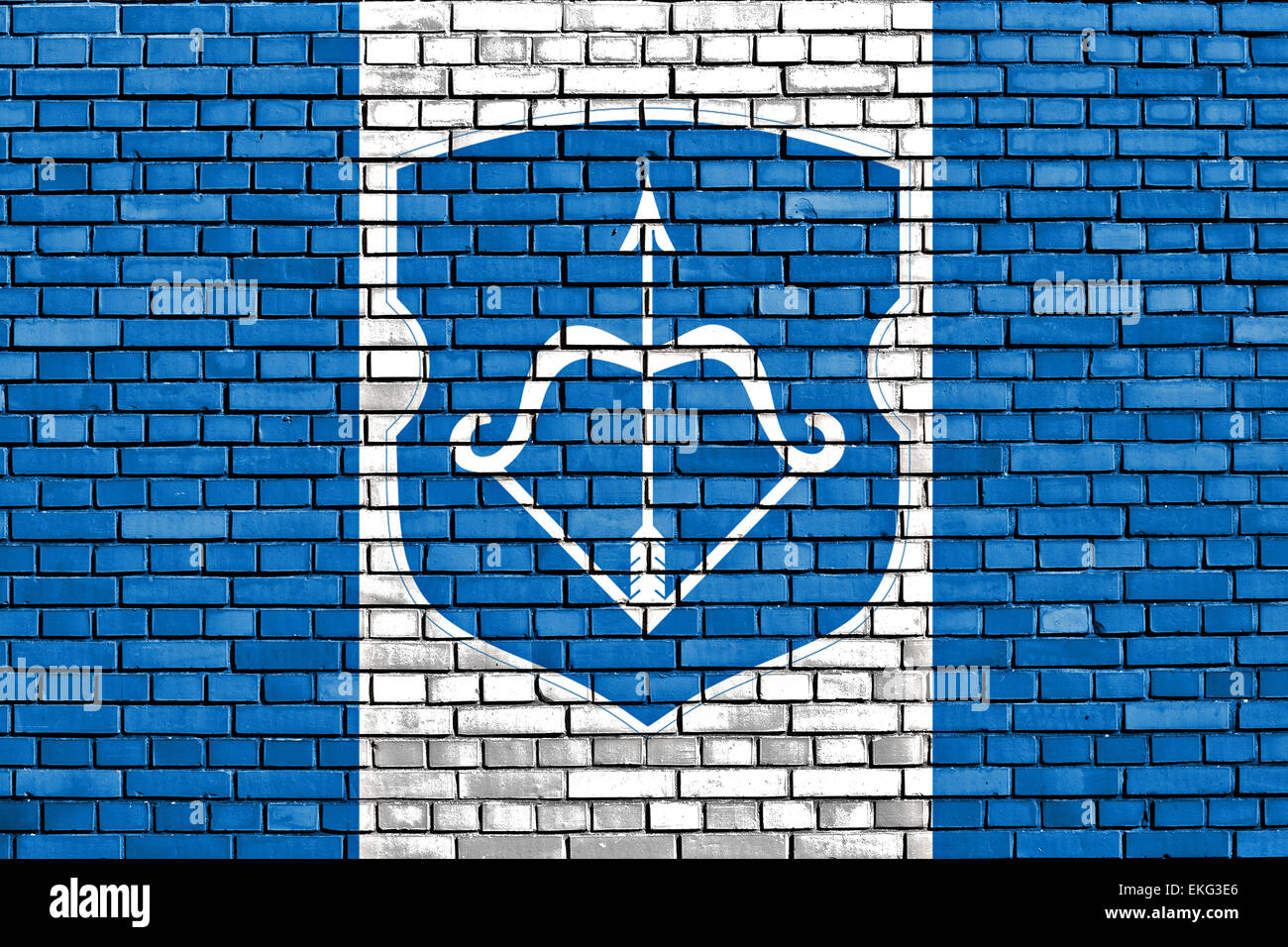 flag of Brest painted on brick wall - Stock Image