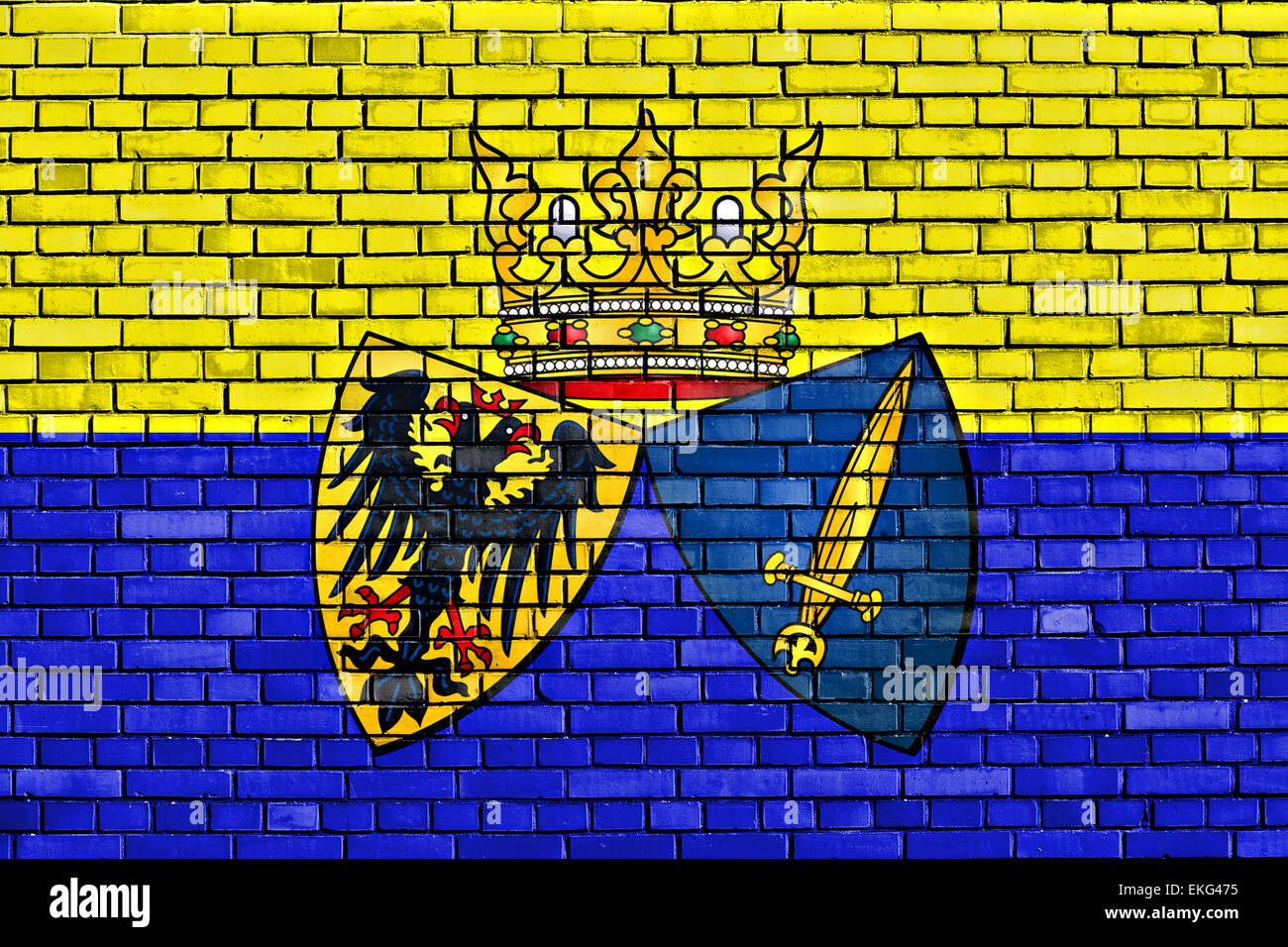 flag of Essen painted on brick wall - Stock Image