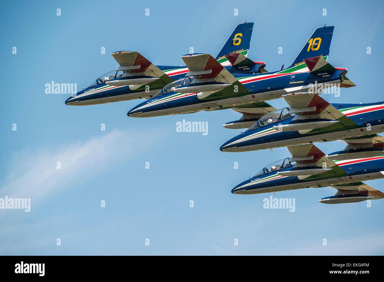 Italian Air Force Frecce Tricolori Display Team RIAT 2014 - Aermacchi AT-339A aircraft Stock Photo