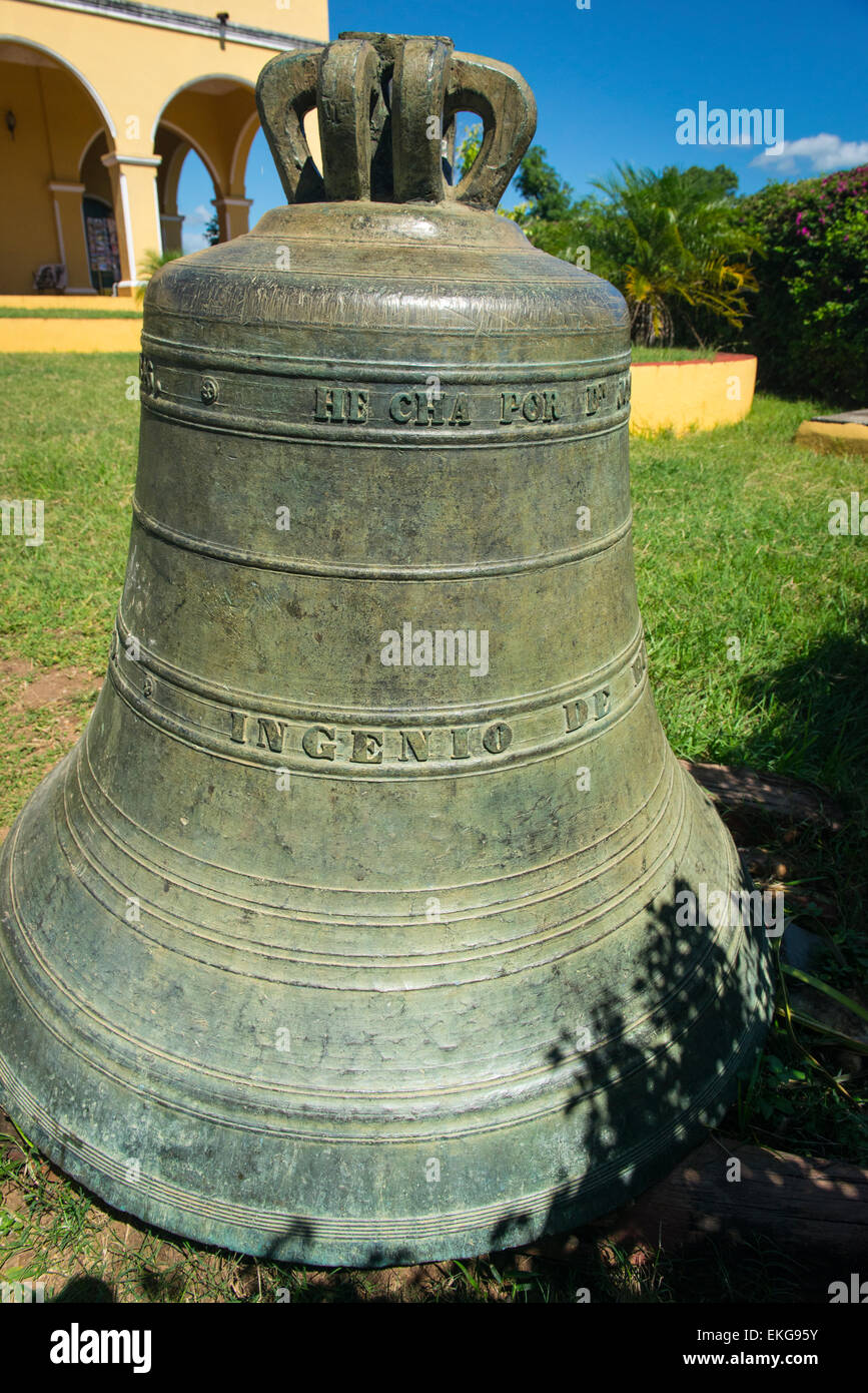 Cuba Trinidad Valle de los Ingenios , Valley of Sugar Mills , Plantation House , old tower bell for calling slaves - Stock Image