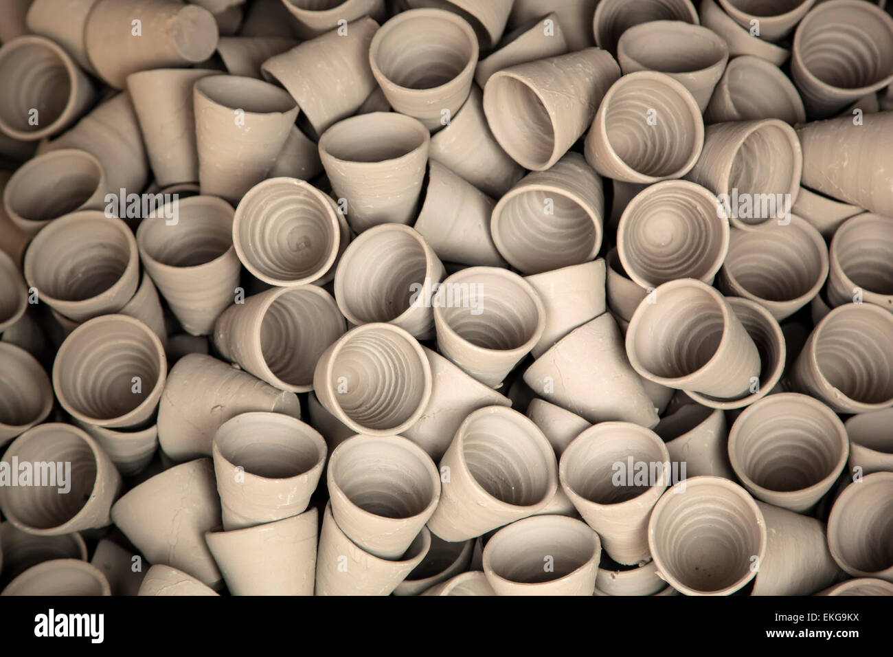Clay cups, Abaneri, Rajasthan, India - Stock Image