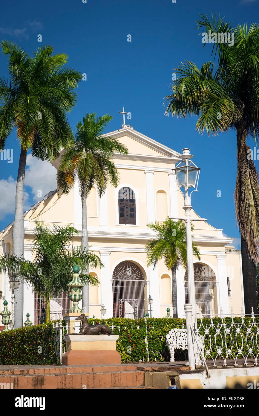 Cuba Plaza Mayor Iglesia Parroquial de la Santisima Trinidad Church of the Holy Trinity late 1800's - Stock Image