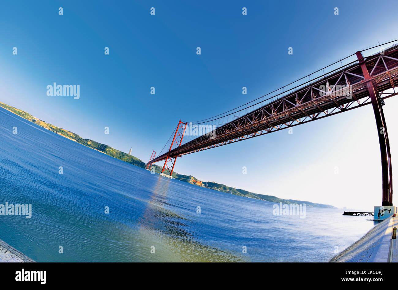 Portugal, Lisbon: Different perspective of the bridge Ponte 25 de Abril Stock Photo