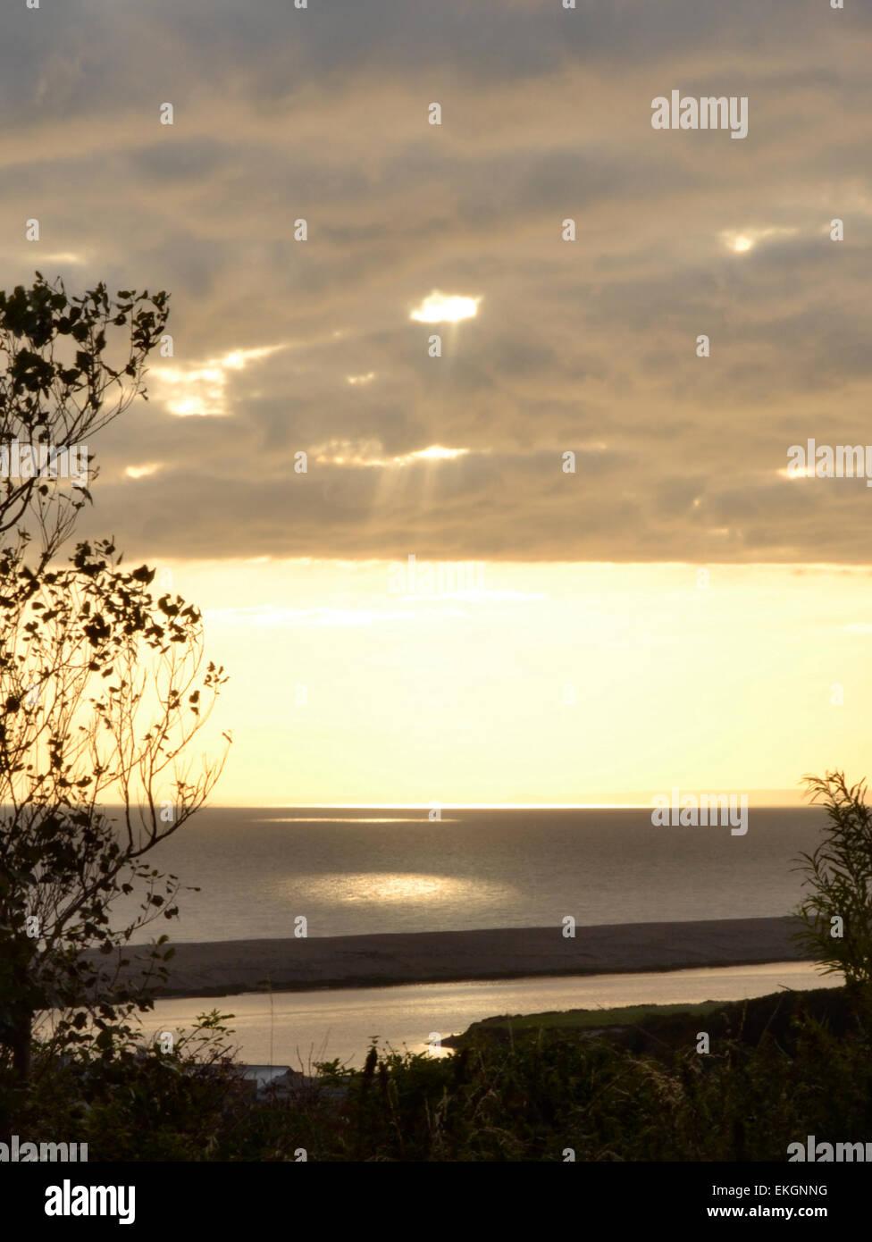 white sun shaft of light - Stock Image