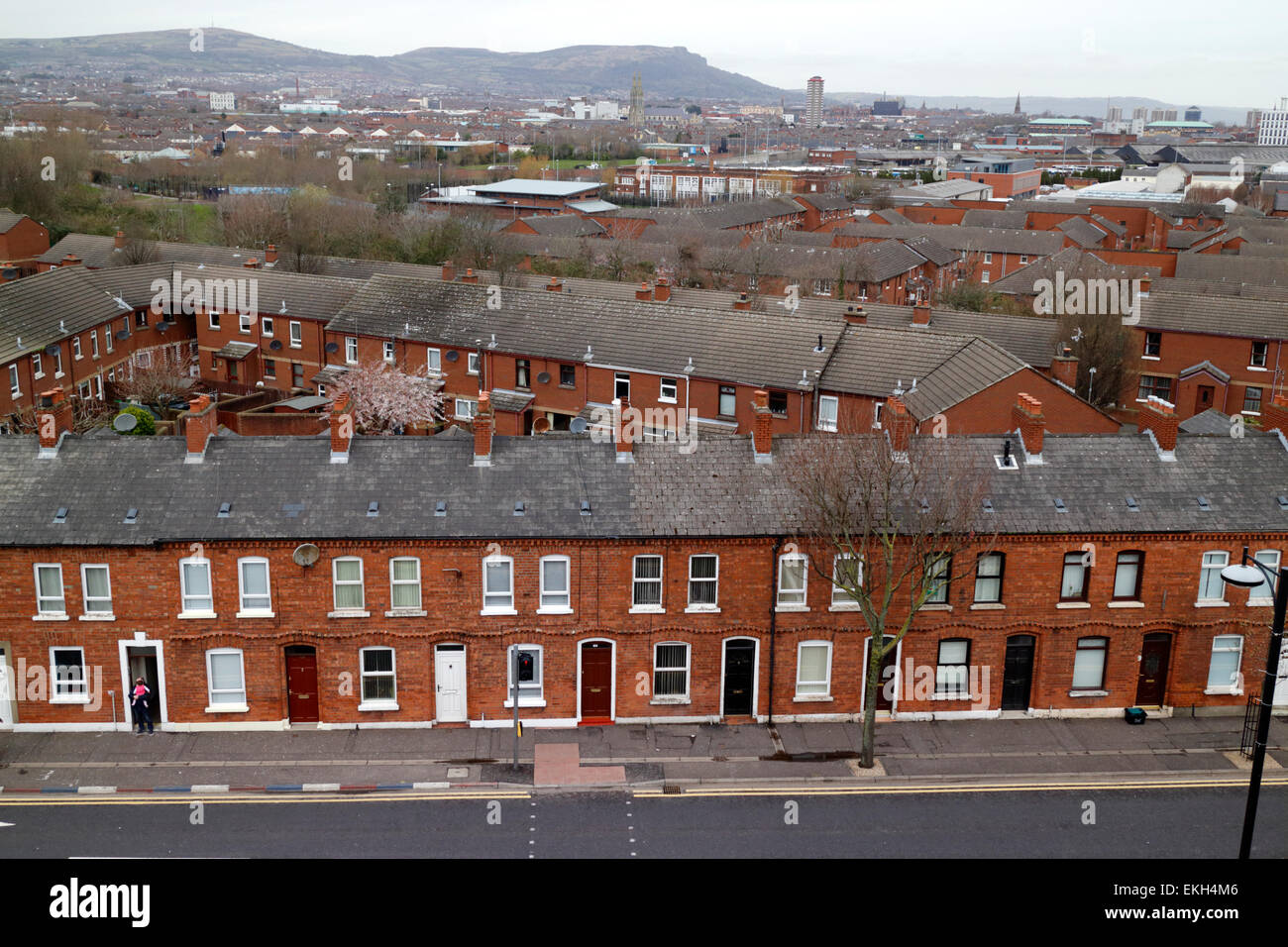 view over old village area of south and west belfast northern ireland - Stock Image
