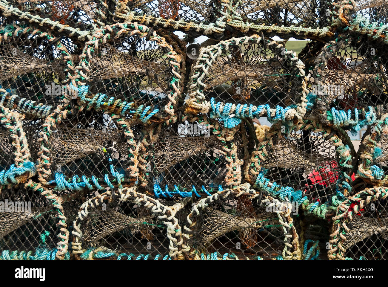 Detail of stacked lobster pots western Ireland - Stock Image