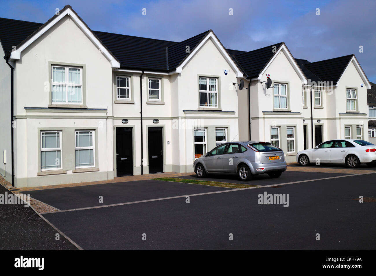northern ireland new build semi detached properties with parking spaces in a new development - Stock Image