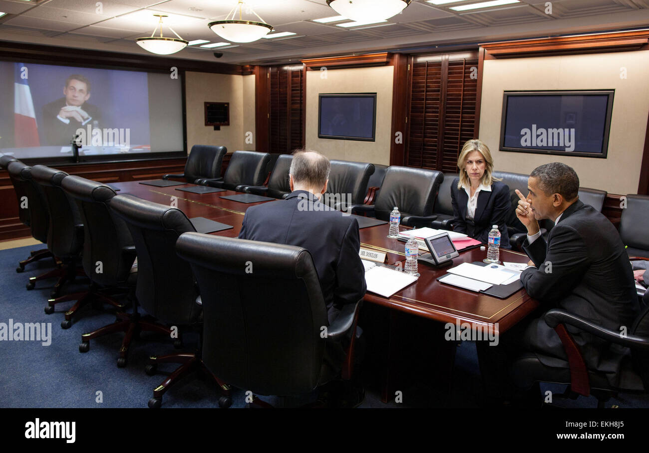 12.APRIL.2012. WASHINGTON  PRESIDENT BARACK OBAMA PARTICIPATES IN A VIDEO TELECONFERENCE WITH PRESIDENT NICOLAS - Stock Image