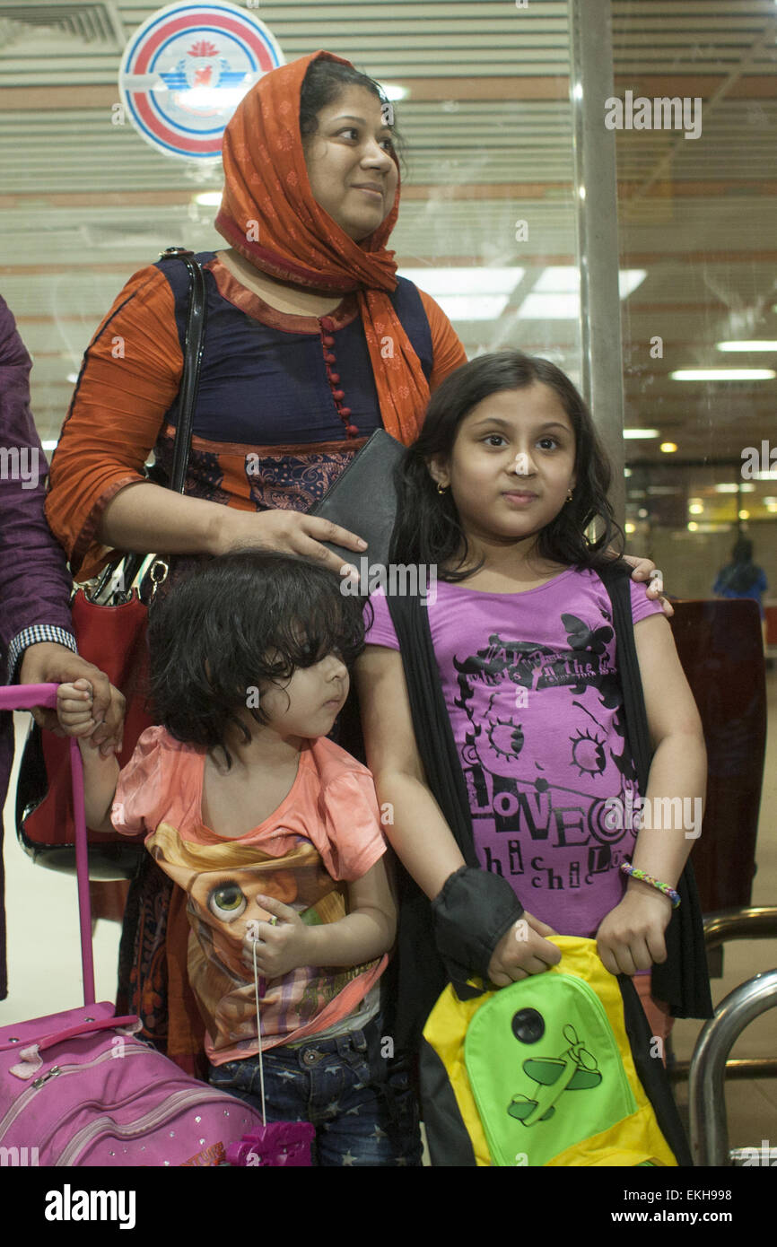 April 10, 2015 - Dhaka, Bangladesh - Elora Zahan with her two child have returned Bangladesh from Yemen after the - Stock Image