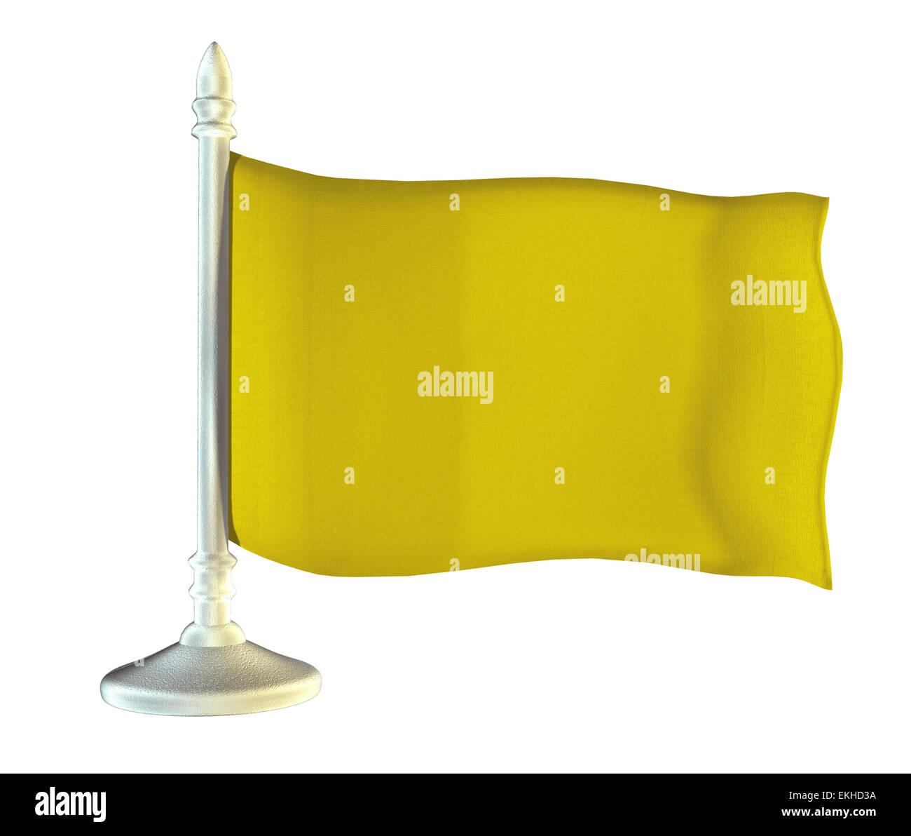 Yellow flag on metal shiny flagpole. 3D graphics - Stock Image