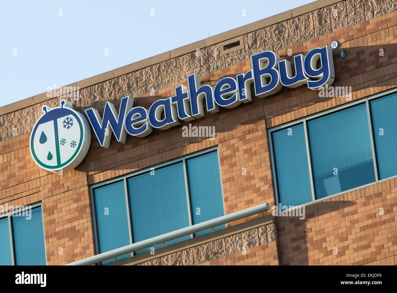 A logo sign outside outside the headquarters of Earth Networks, the parent company of WeatherBug. - Stock Image