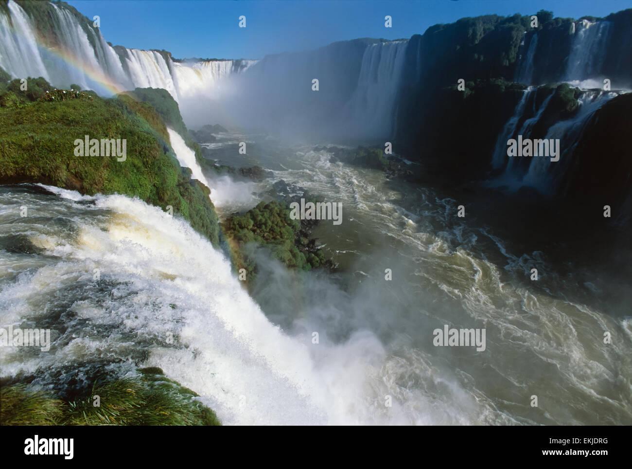 Garganta del Diablo (Devils Throat), with top of Salto Santa Maria, Iguassu Falls, (Cataratas del Iguazu, Argentina), - Stock Image
