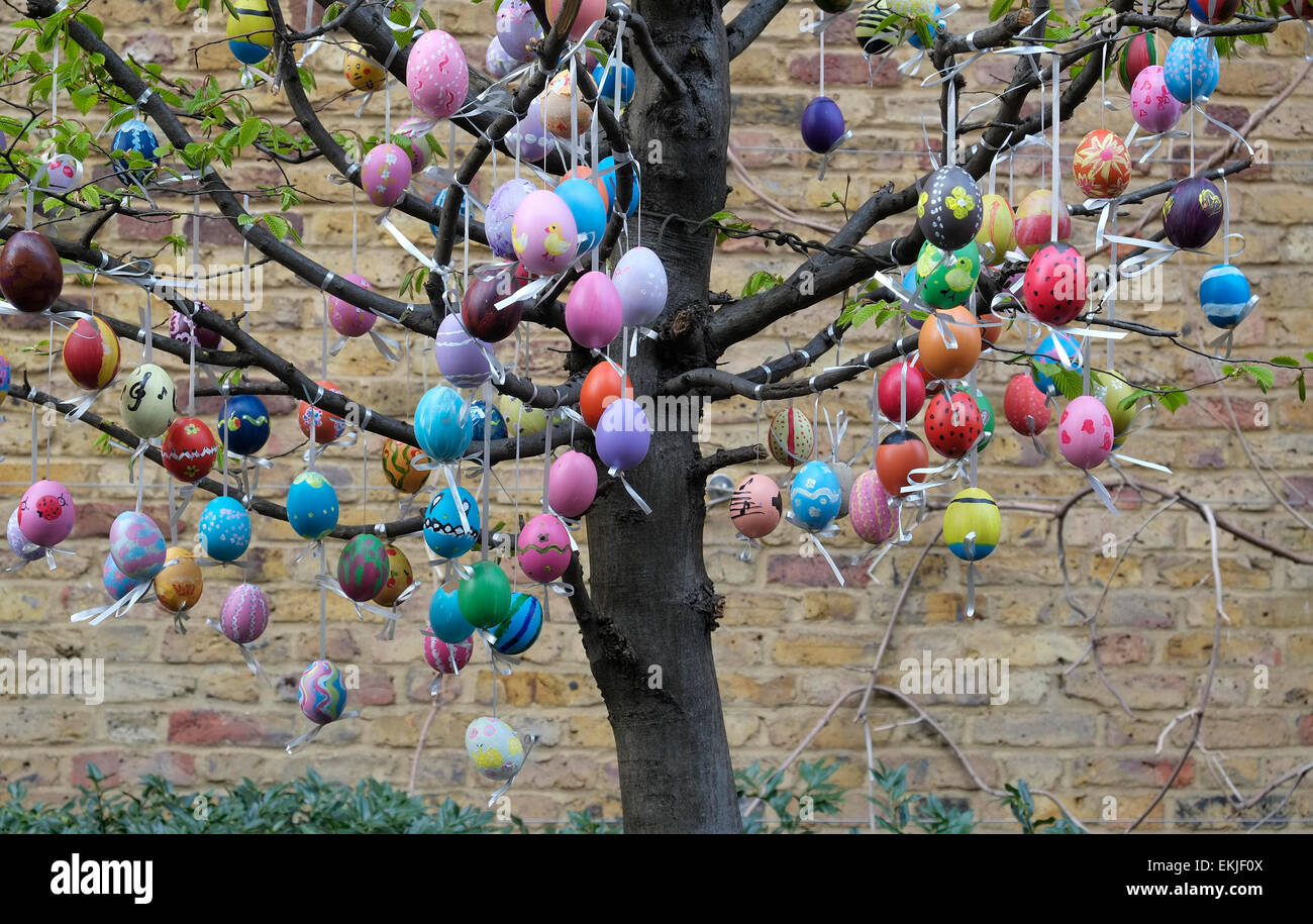 Colourful Easter Eggs Hanging From Tree Branches City Of London Stock Photo Alamy