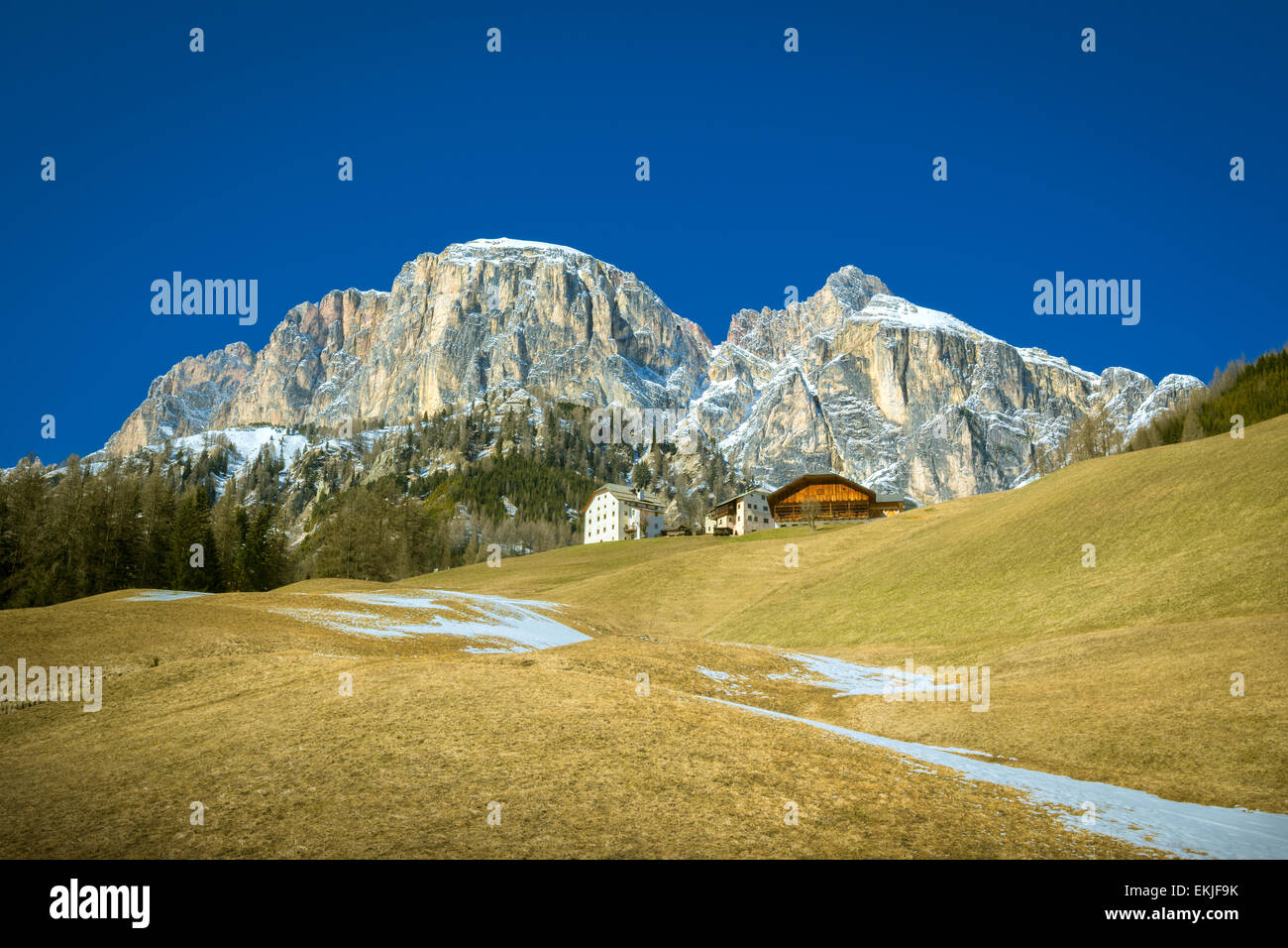 Corvara in Badia with Dolomites Dolomiti alps in background - Trentino Alto Adige, South Tyrol, Norther Italy - Stock Image