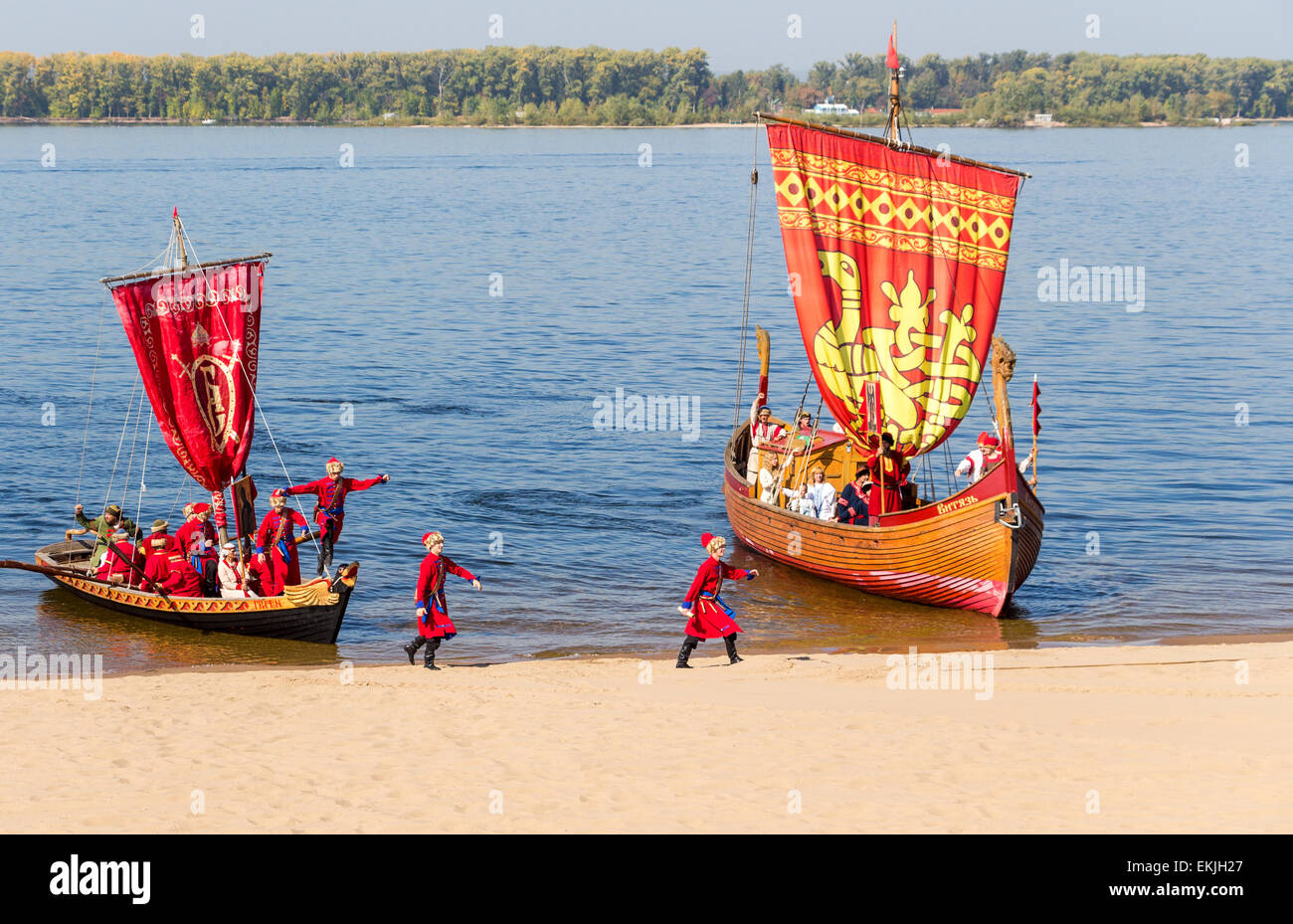 Old sailing ships floating on the river Volga on sunny day - Stock Image