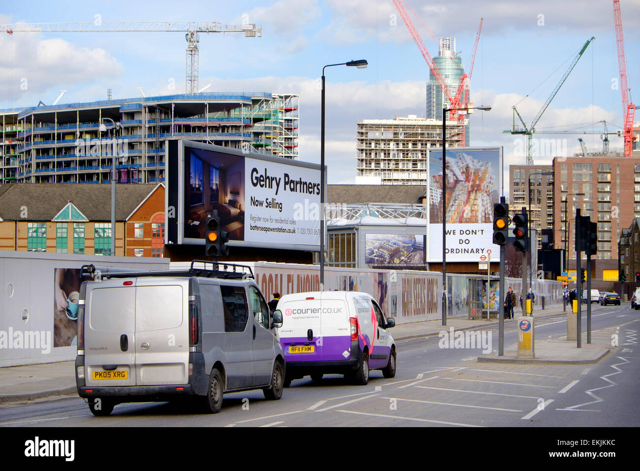 27 March 2015 - London: On Nine Elms Lane, roadside advertising by Gehry Partners for the Nine Elms development, - Stock Image