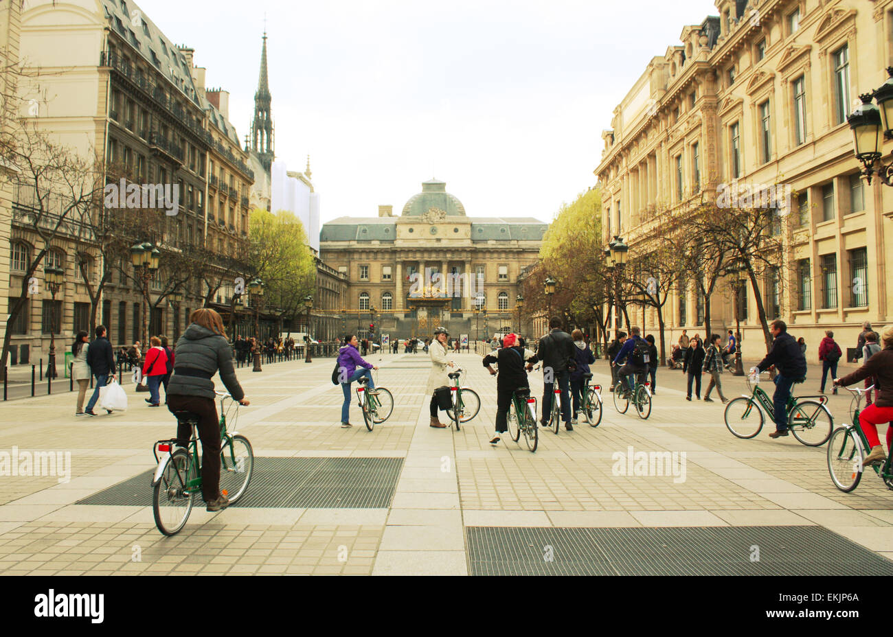 Cyclists in Paris city, France Stock Photo