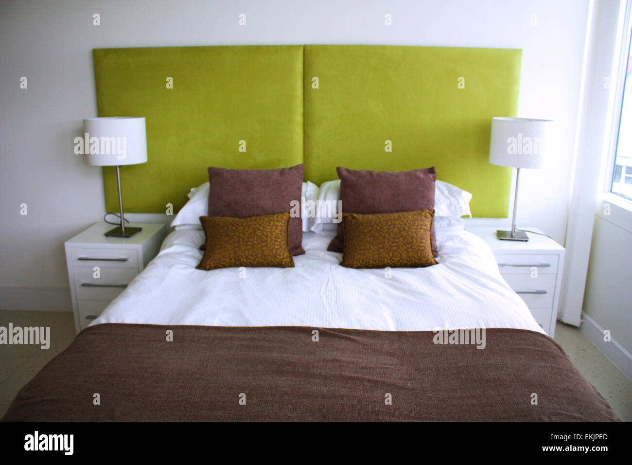 Interior design of a bedroom in an apartment Stock Photo