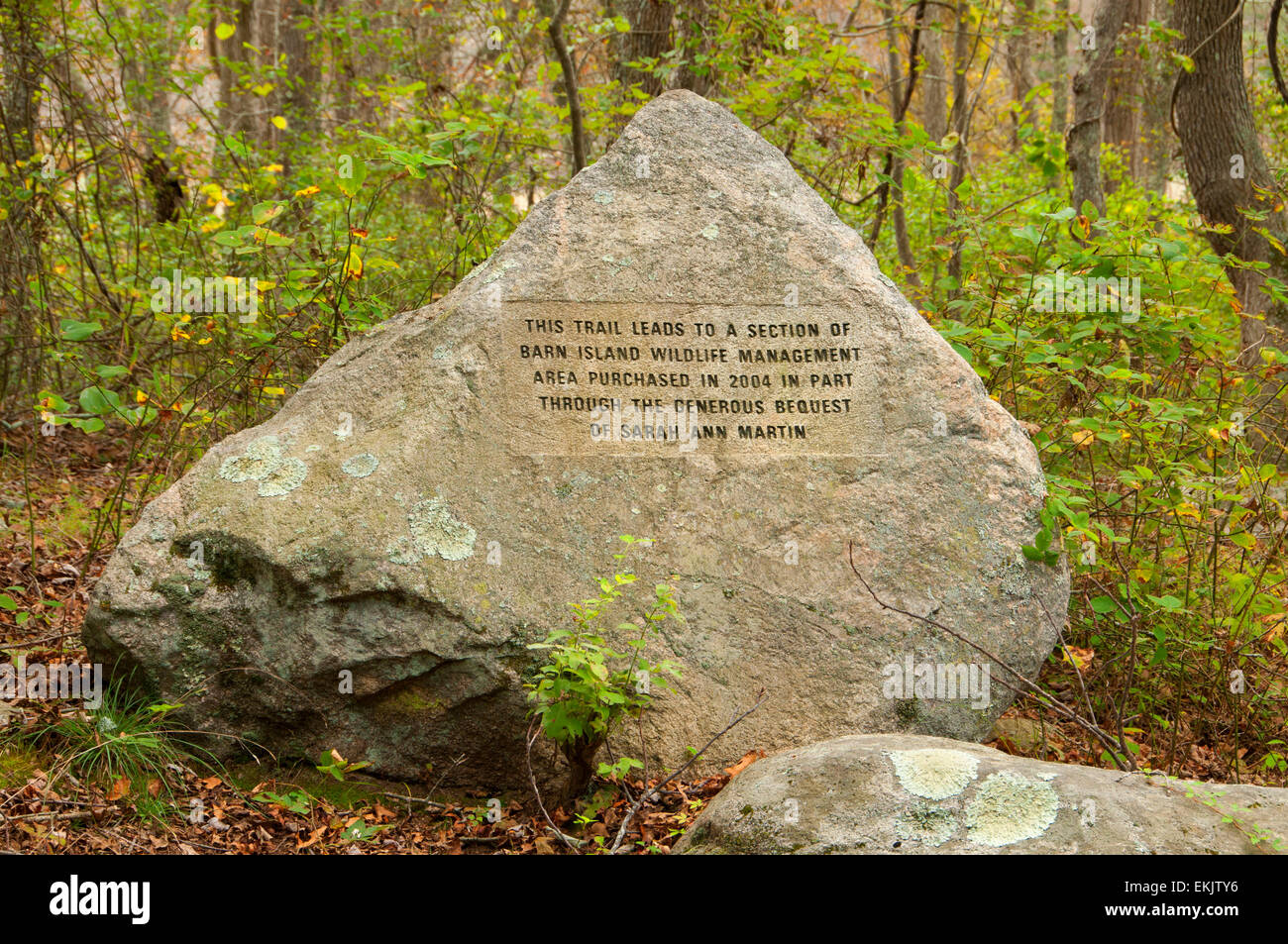 Appreciation monument, Barn Island Wildlife Management Area, Connecticut - Stock Image