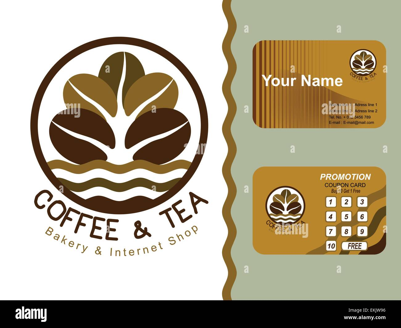 Coffee shop icon logo and business cards design Stock Vector Art ...