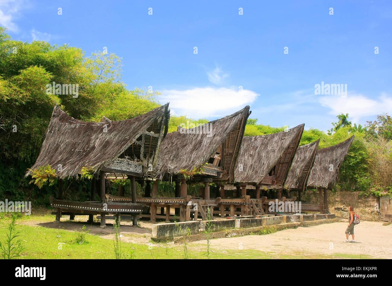 Traditional Batak houses on Samosir island, Sumatra, Indonesia, Southeast Asia - Stock Image