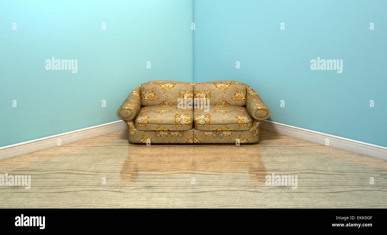 An Old Vintage Sofa With A Floral Fabric In The Corner Of An Empty Room  With Light Blue Wall And A Reflective Wooden Floor