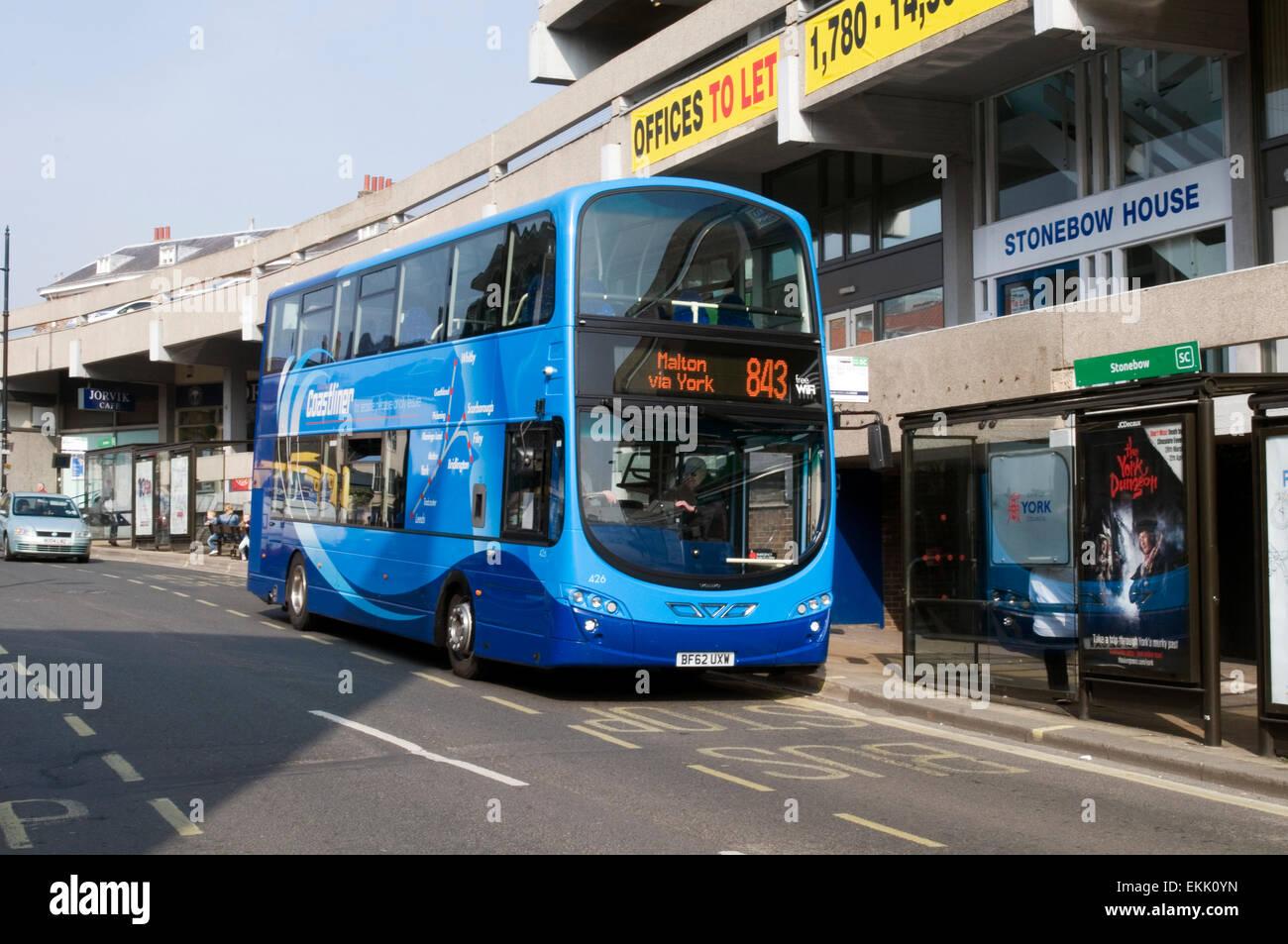 coastliner double decker bus in York 843 malton A64 buses blue - Stock Image