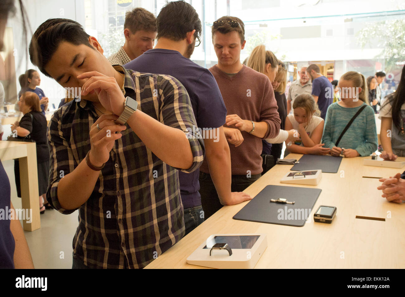 Adelaide, Australia. 11th April 2015. Apple watch is available for customers at Apple stores in Adelaide Australia Stock Photo