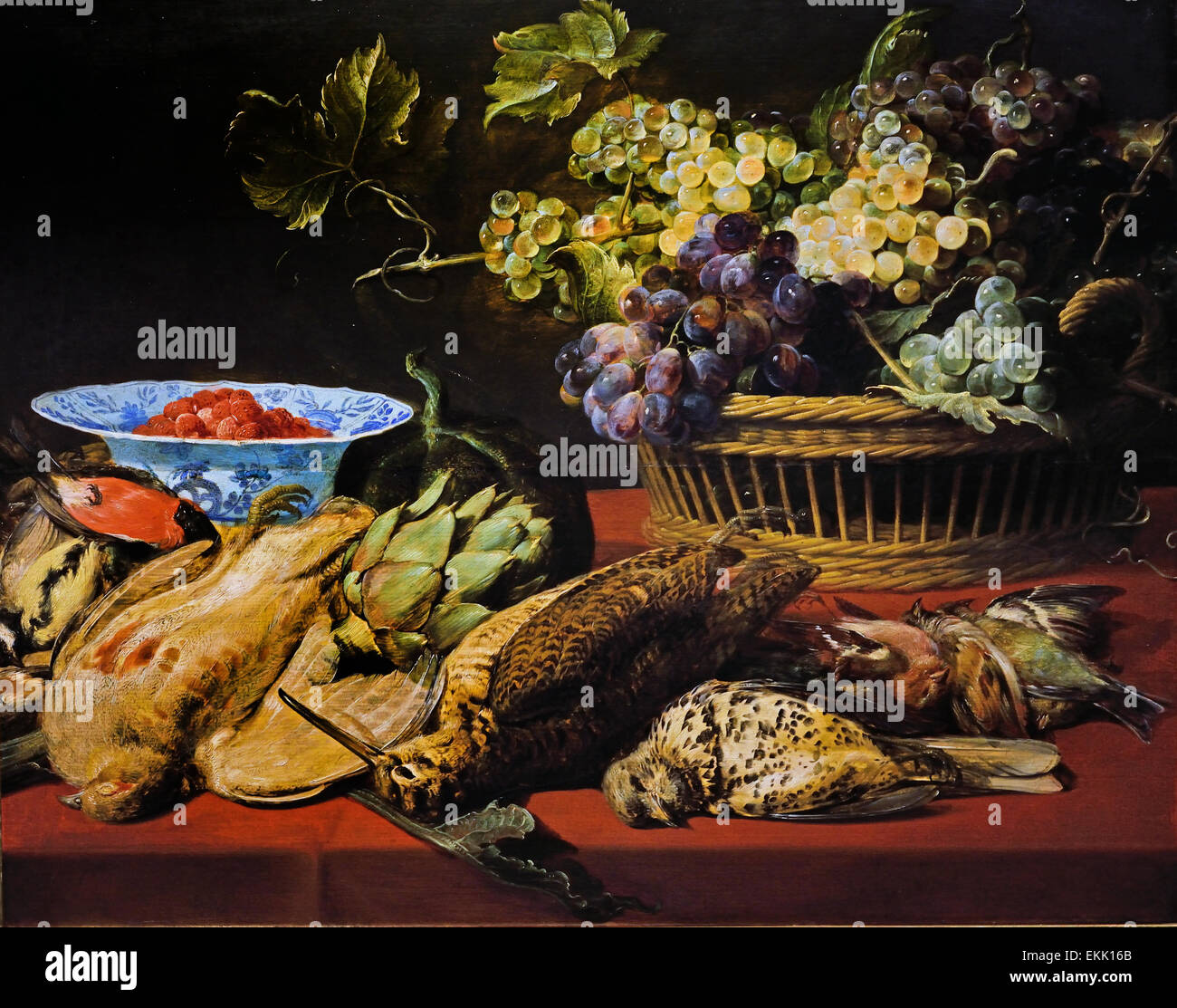Still Live Basket with Grapes Birds and Strawberries 1612 Frans Snyders or Snijders ( 1579 – 1657) was a Flemish - Stock Image