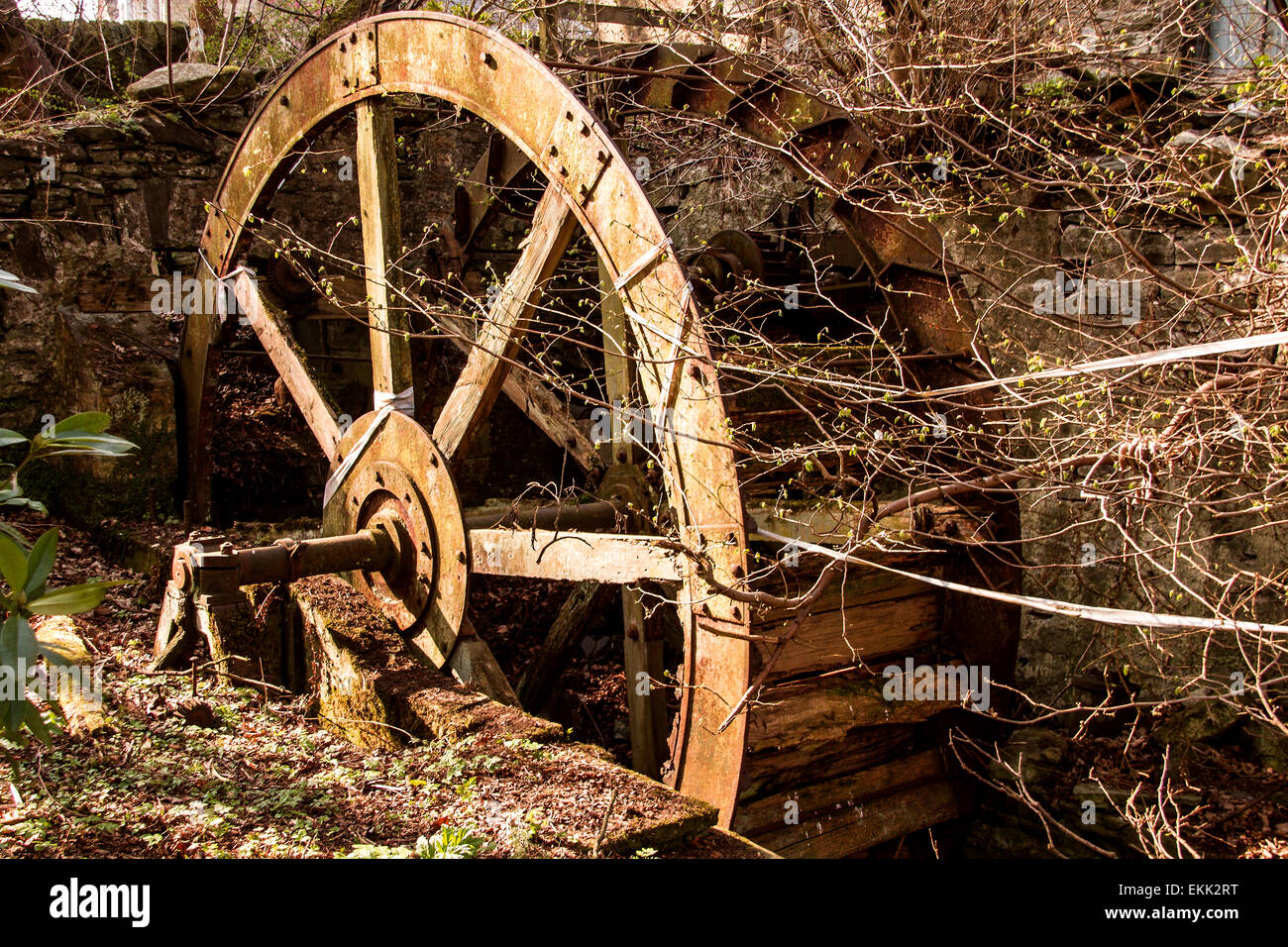 Old run down Waterwheel and Watermill on the Dighty burn at Balmuirfield along Harestane Road in Dundee Scotland, Stock Photo