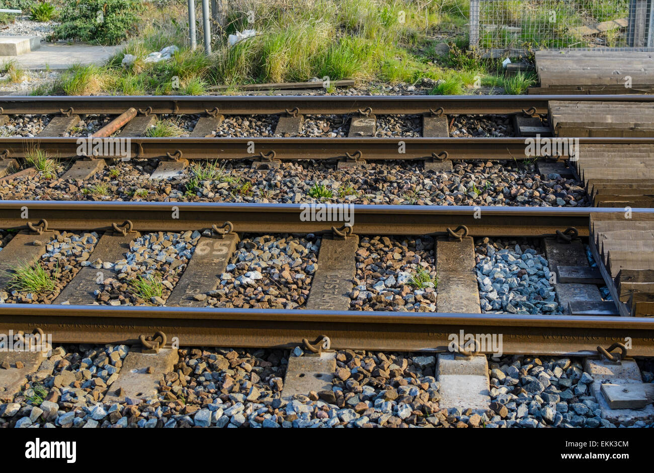 Pair of tracks on a UK railway. - Stock Image