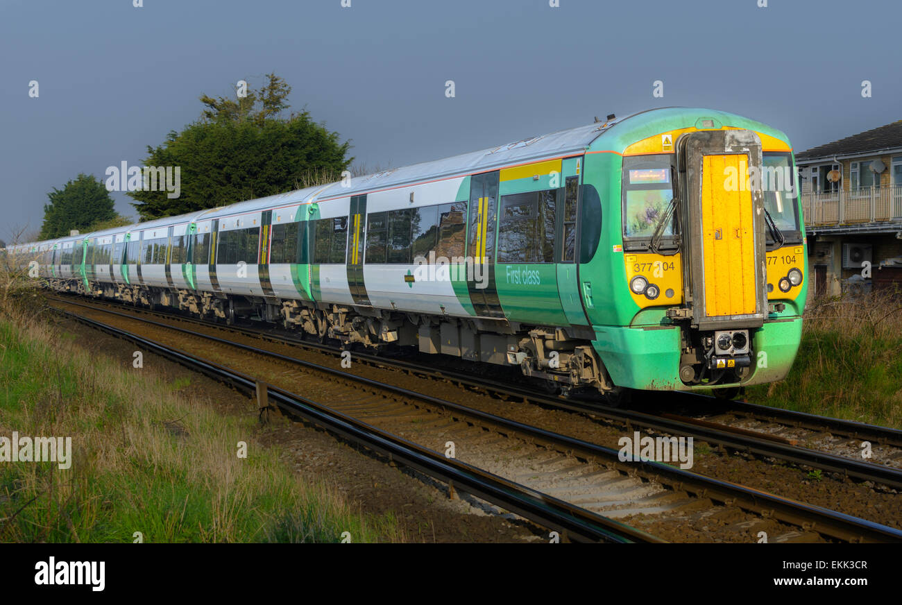 Southern Rail train in the south of England, UK. Southern train. Southern trains. - Stock Image