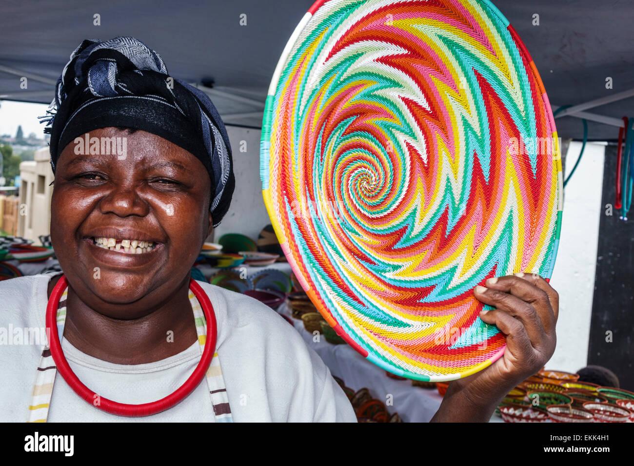 Johannesburg South Africa African Soweto Vilakazi Street Precinct Zulu telephone wire basket vendor Black woman - Stock Photo