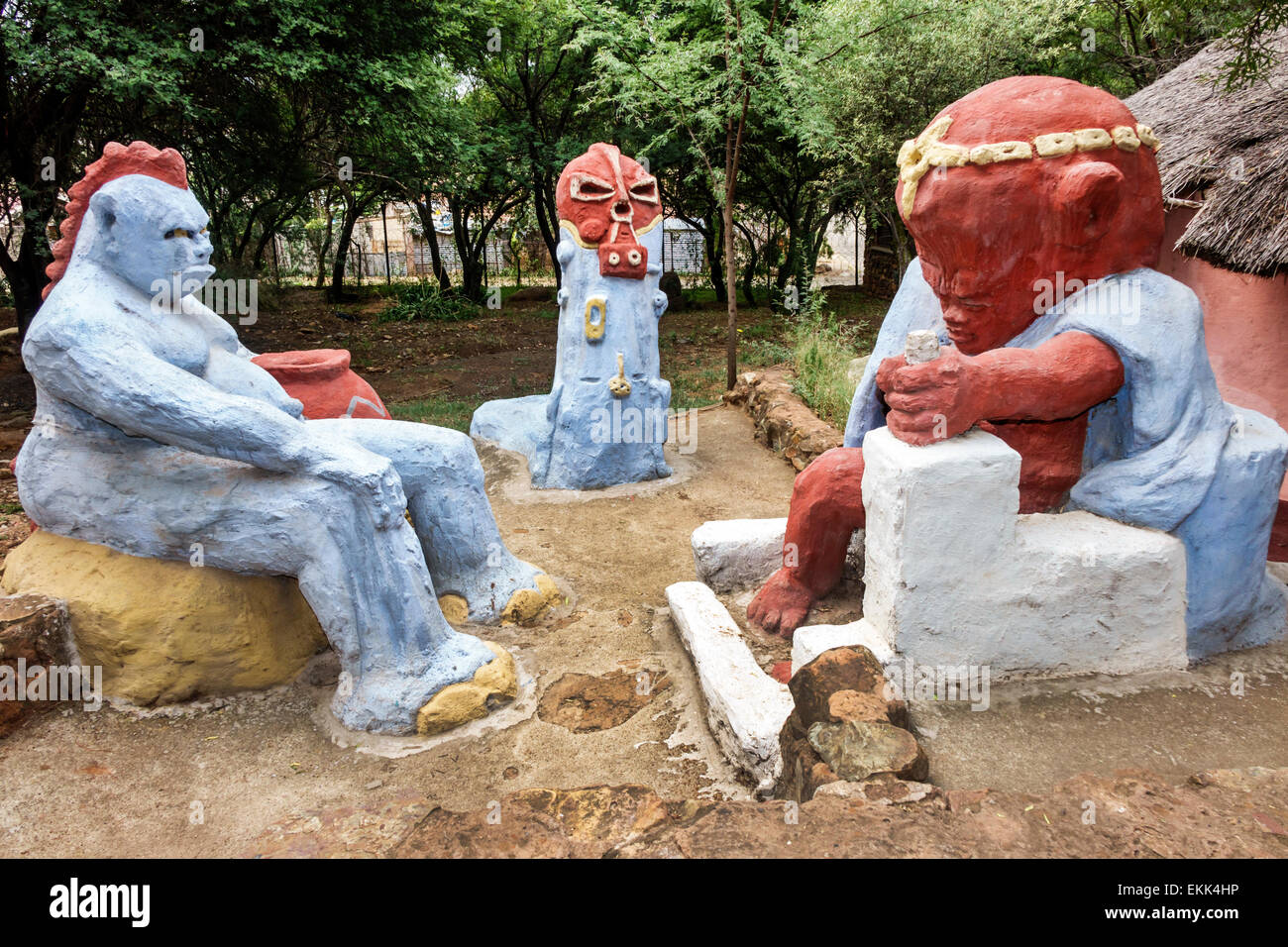 South Africa, African, Johannesburg, Soweto, Kwa-Khaya Lendaba Credo Mutwa Cultural Village, sculptures, sightseeing Stock Photo