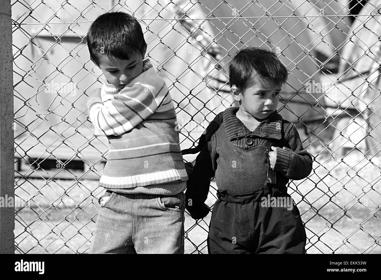 Syrian people in refugee camp in Suruc. These people are refugees from Kobane and escaped because of Islamic state - Stock Image