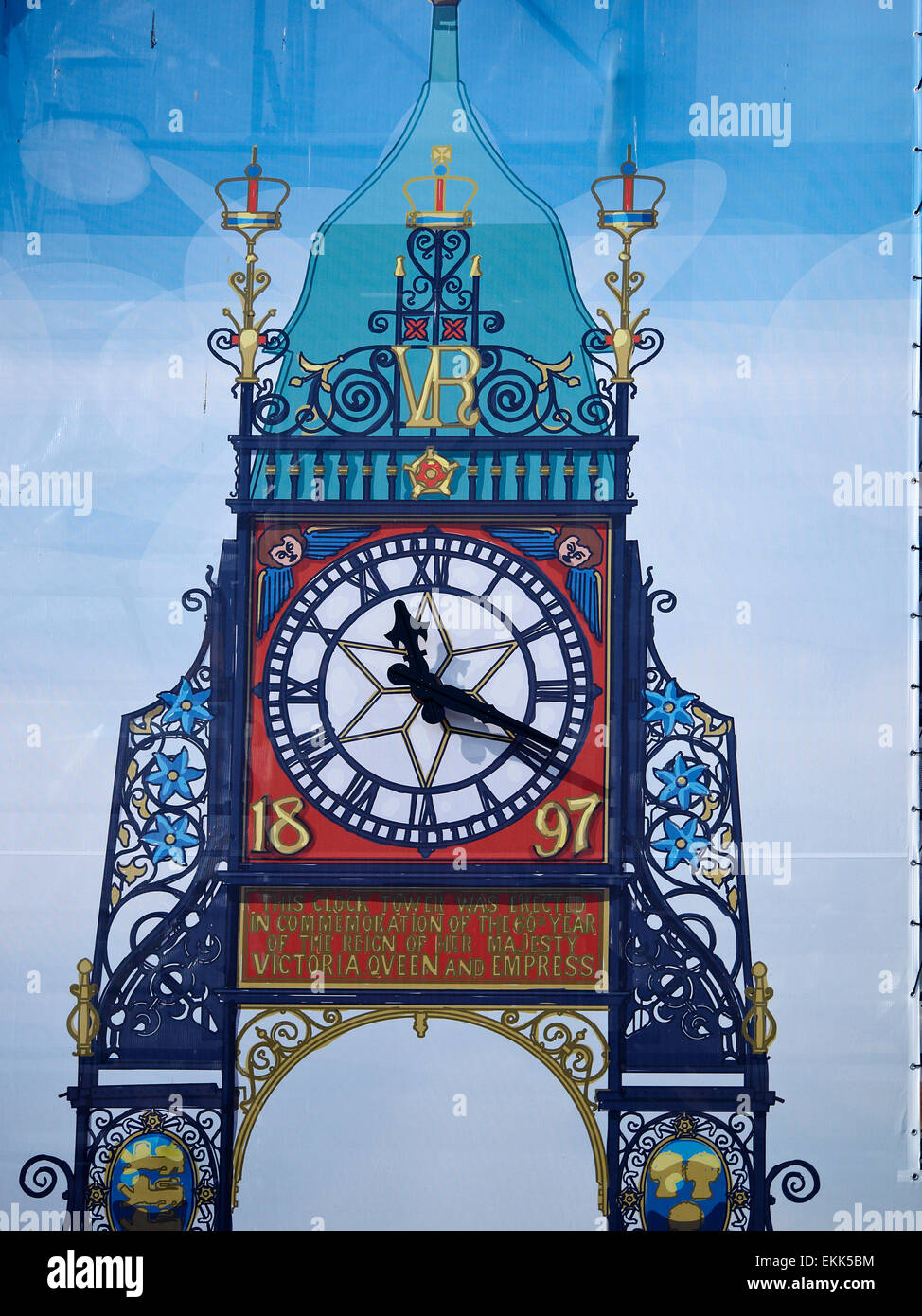 Chester, Cheshire, UK, 10th April 2015. Since January 5th the second best-known clock behind Big Ben is in scaffolding - Stock Image