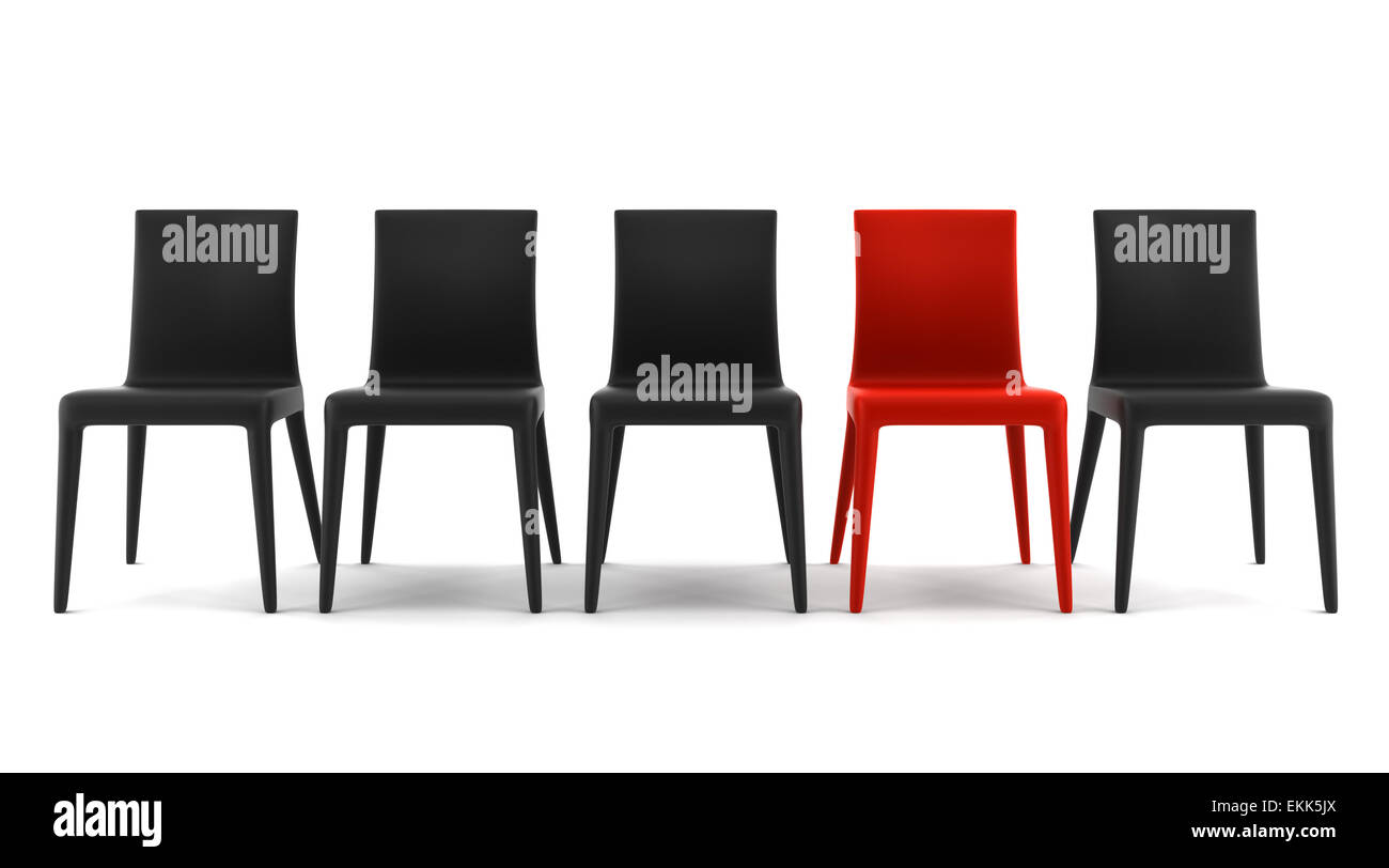 red chair among black chairs isolated on white background - Stock Image