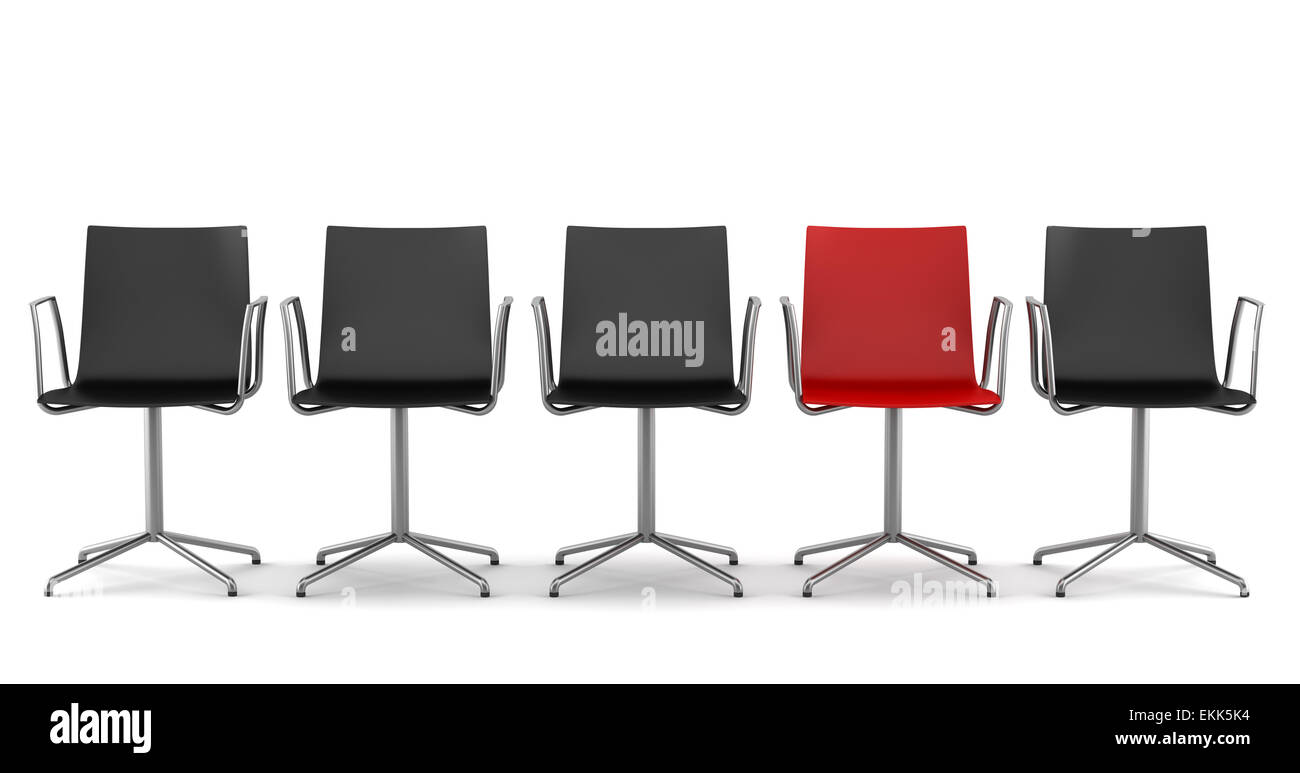 red office chair among black chairs isolated on white background - Stock Image