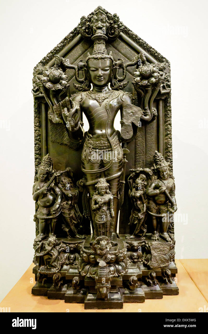 Surya 1100-1200 Pala period Surya, the Sun God, who is represented standing on a chariot drawn by seven horses. - Stock Image
