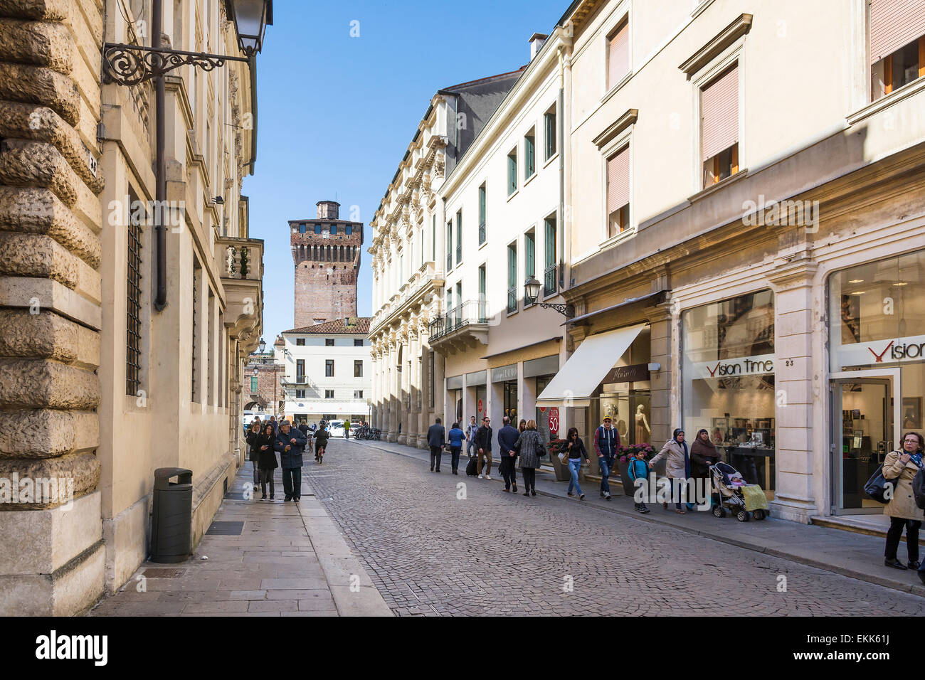 Vicenza,Italy-April 3,2015:People and tourist stroll in the famous Palladio street in the historic centre of Vicenza.Here - Stock Image